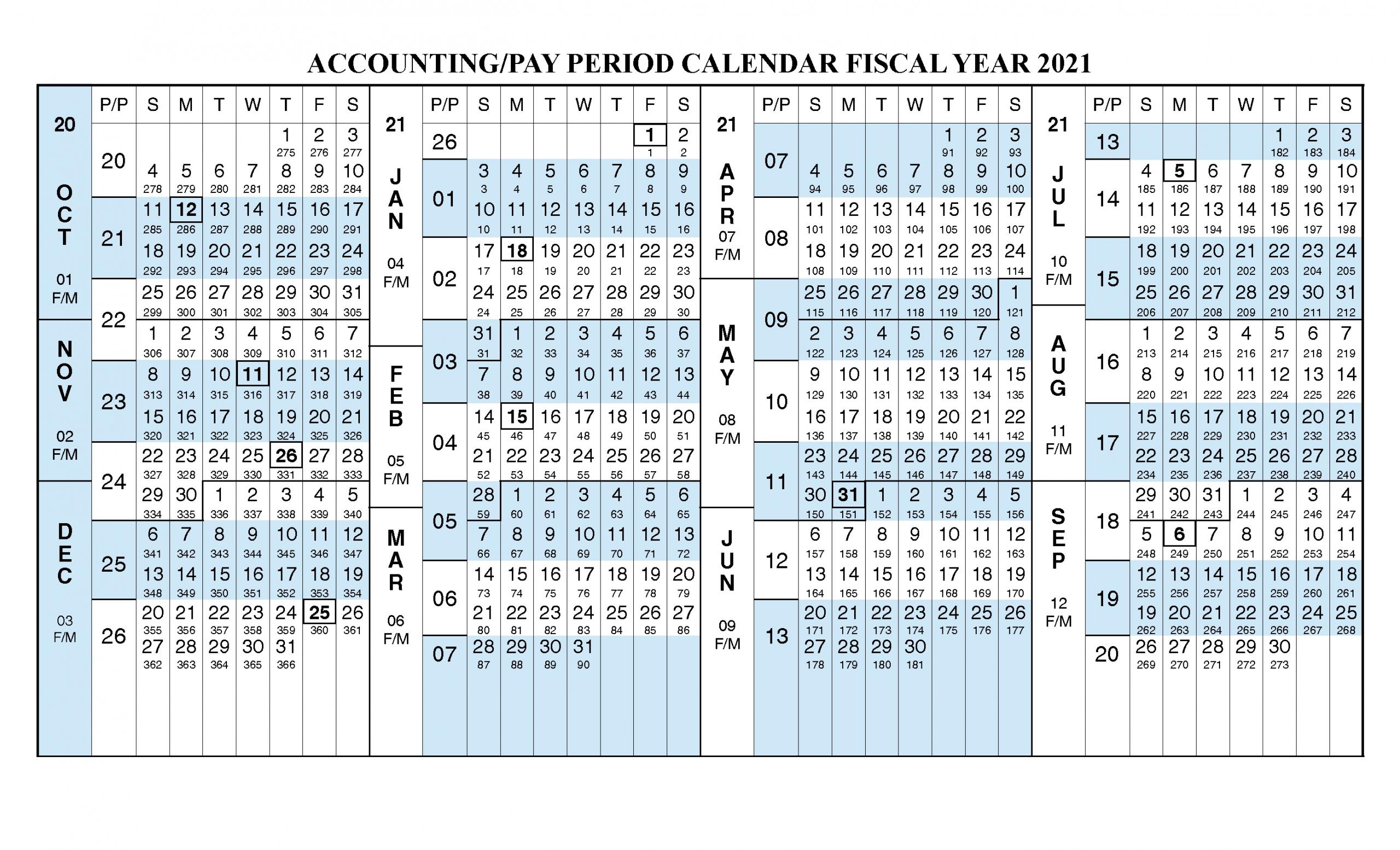 Payroll Calendar 2021 Fiscal Year Calendar [ Oct 2020 – Sep