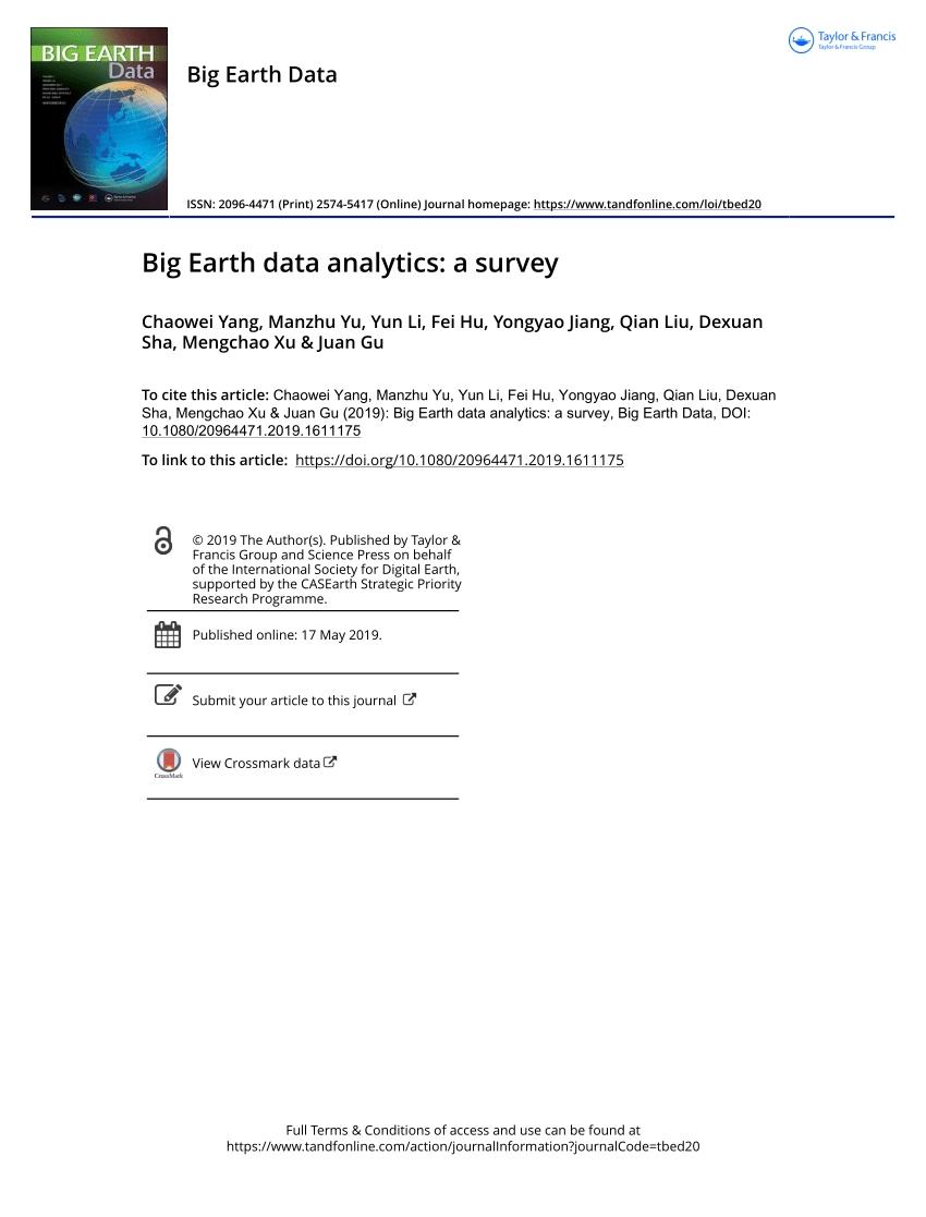 Pdf) Big Earth Data Analytics: A Survey
