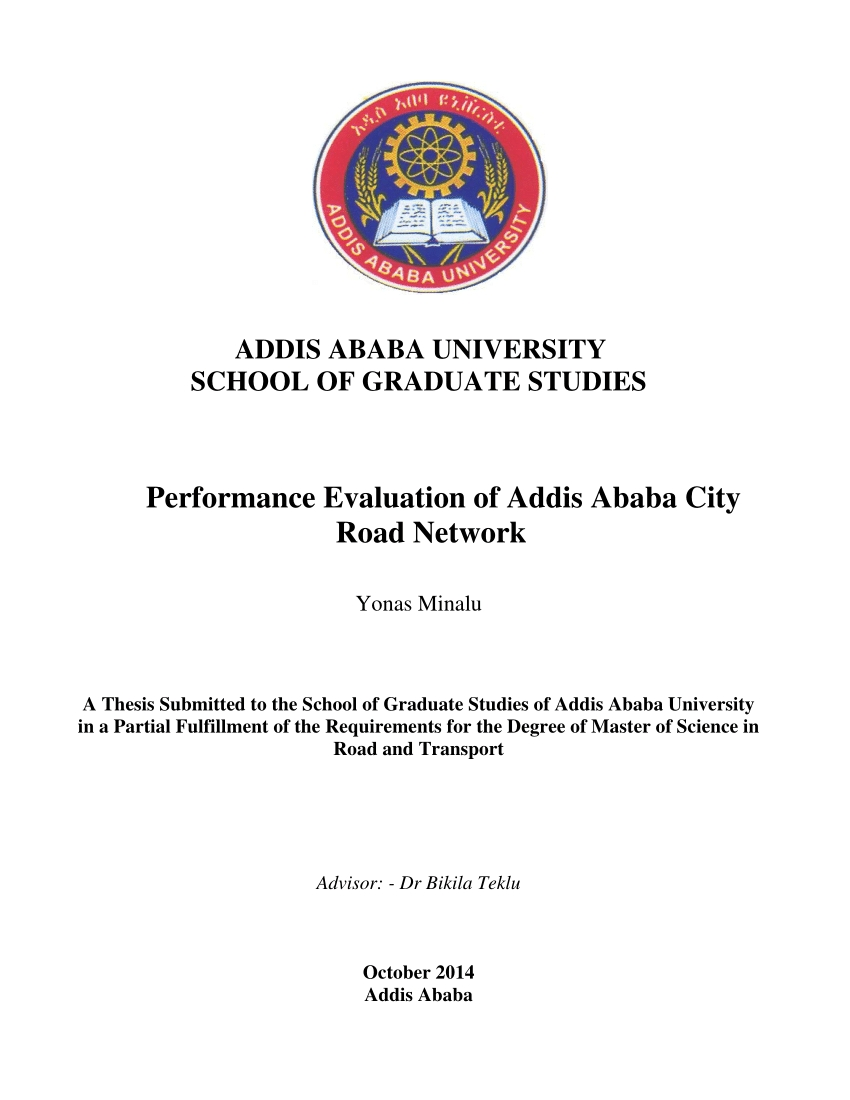 Pdf) Performance Evaluation Of Addis Ababa City Road Network