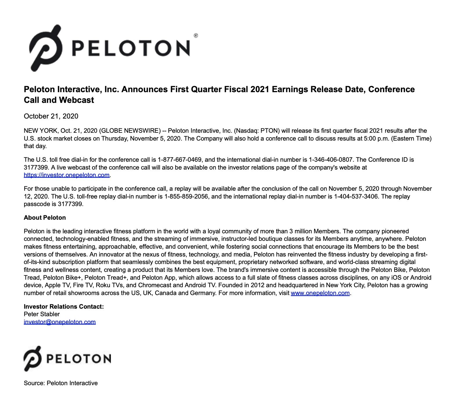Peloton Q1 2021 Earnings Call Date Announced - Peloton Buddy