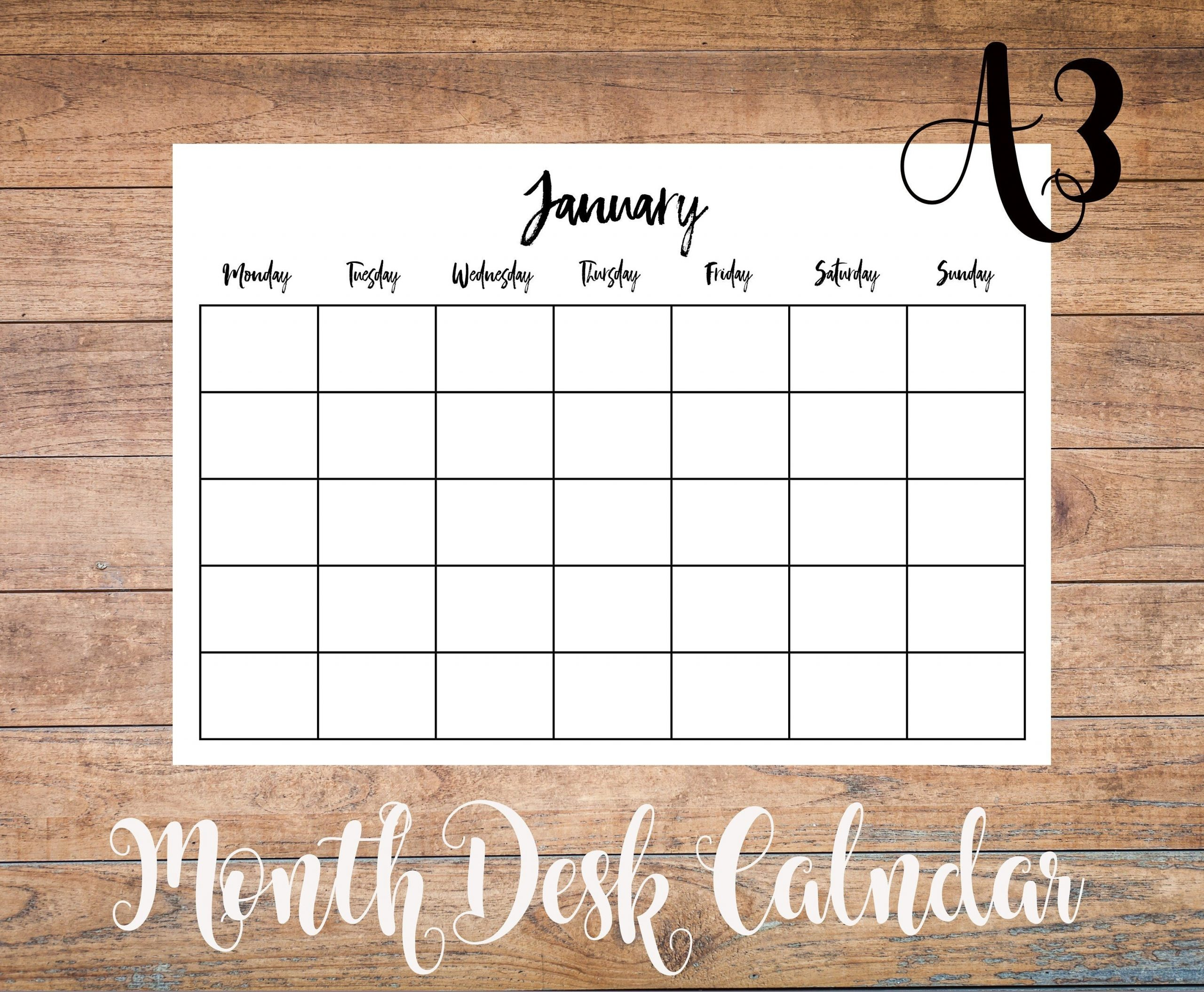 Perpetual A3 Monthly Calendar Printable Undated Desk Pad