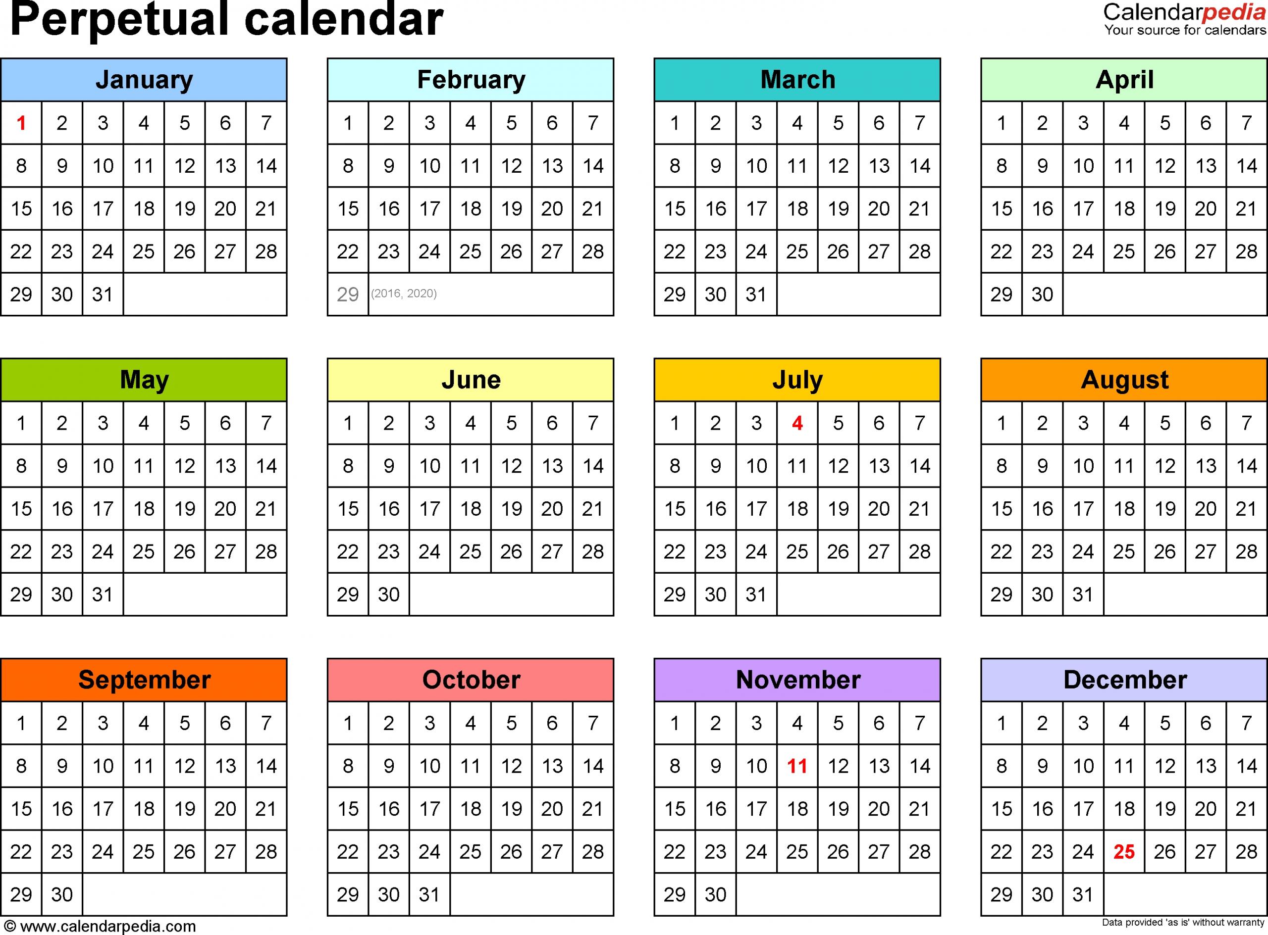 Perpetual Calendars - 7 Free Printable Pdf Templates