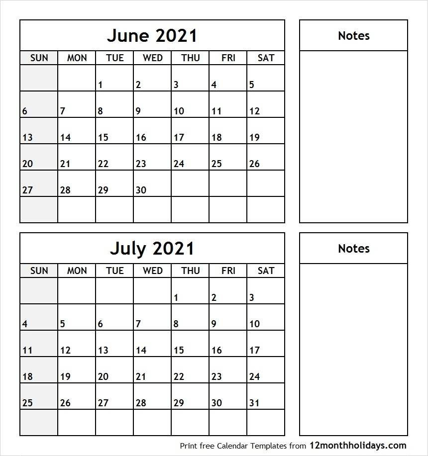 Print June July 2021 Calendar Template | 2 Month Calendar