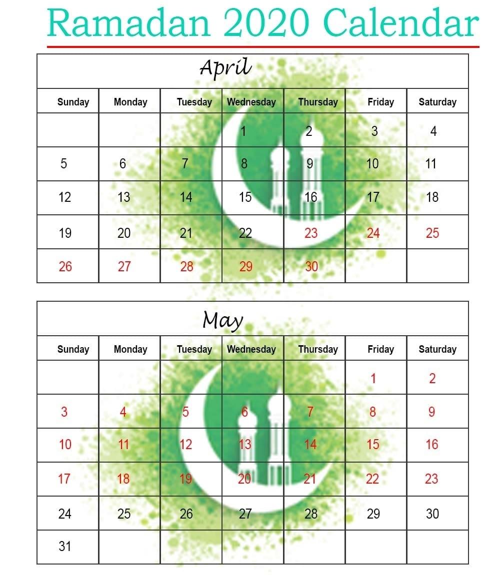 Printable 2020 Ramadan Calendar With Prayer Times [Ramzan
