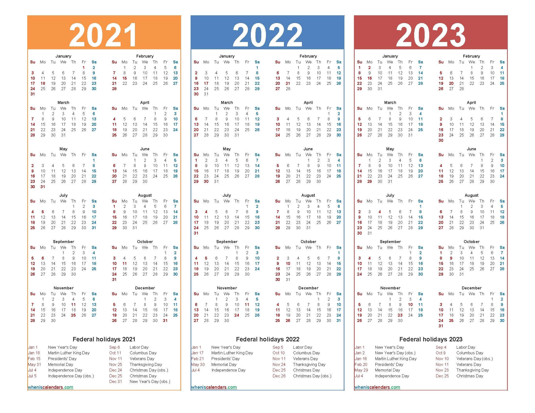 Printable 2021 2022 And 2023 Calendar With Holidays – Free