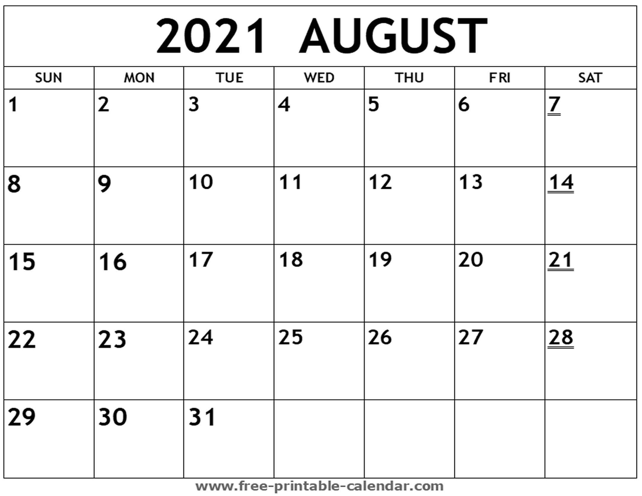 Printable 2021 August Calendar - Free-Printable-Calendar