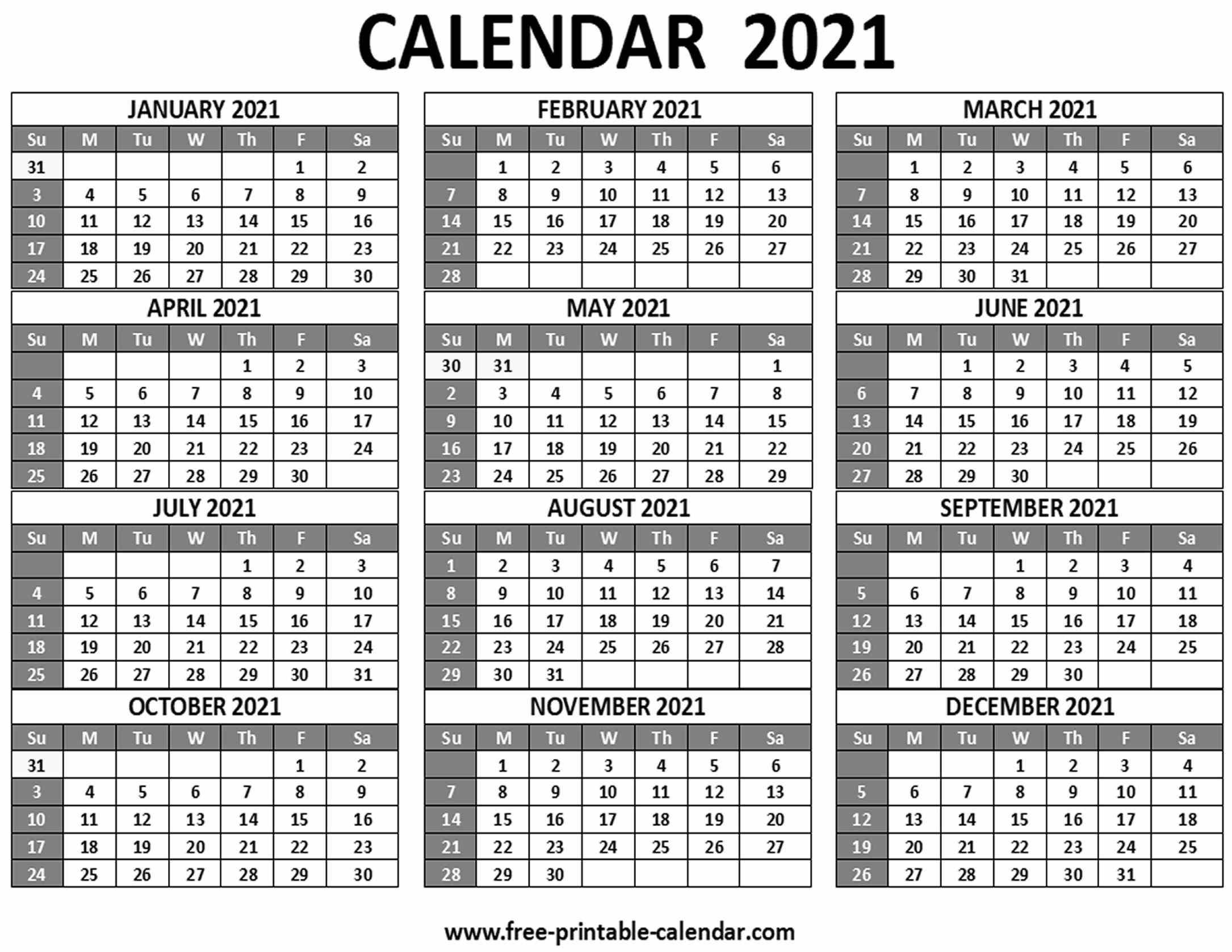 12 Month 2021 Printable Calendar | Month Calendar Printable
