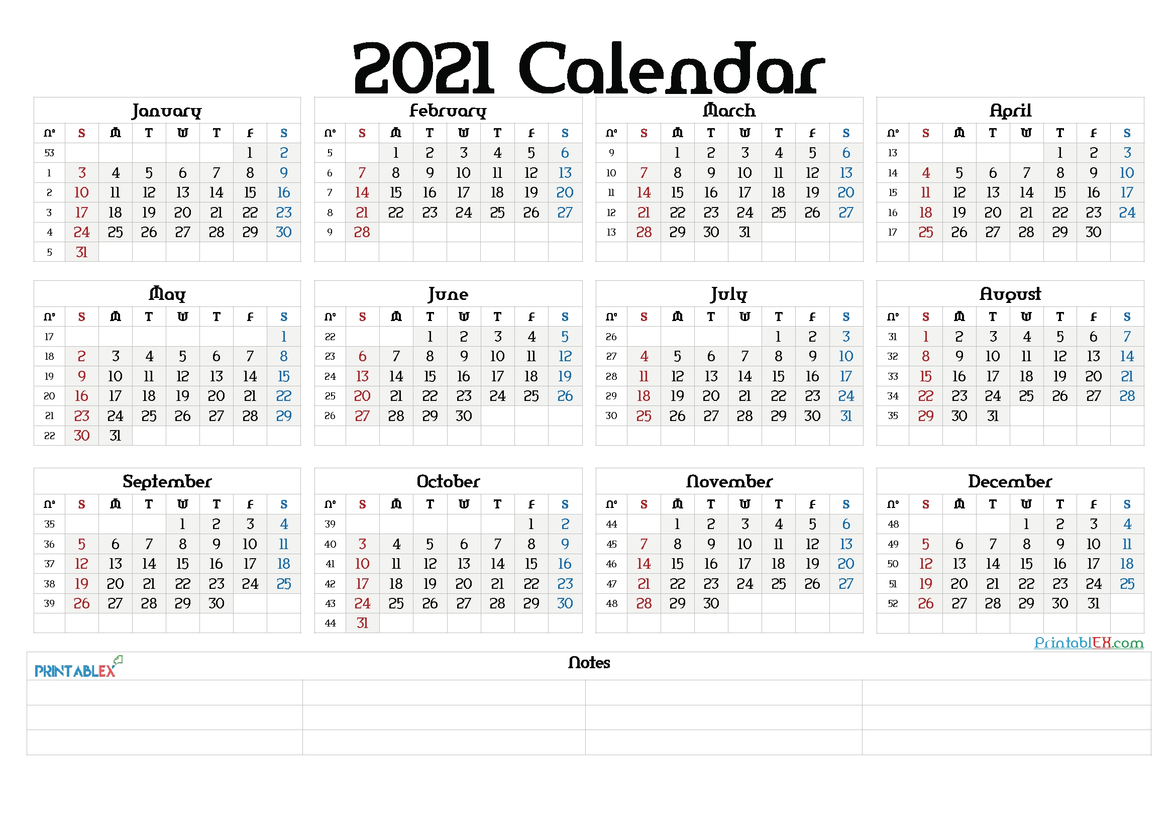 Printable 2021 Calendar Templates – Free Printable 2020