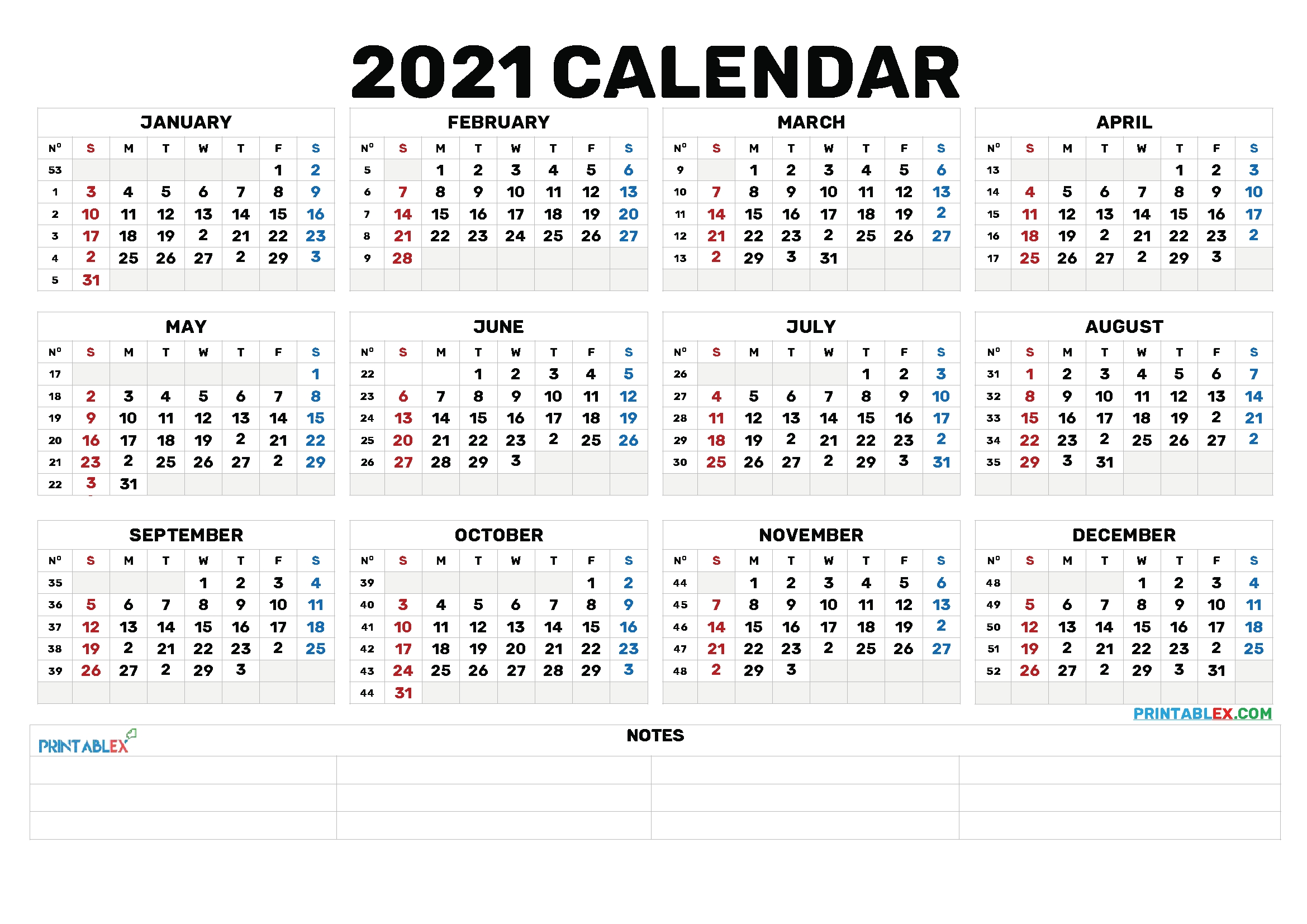 Printable 2021 Calendarmonth – 6 Templates – Free