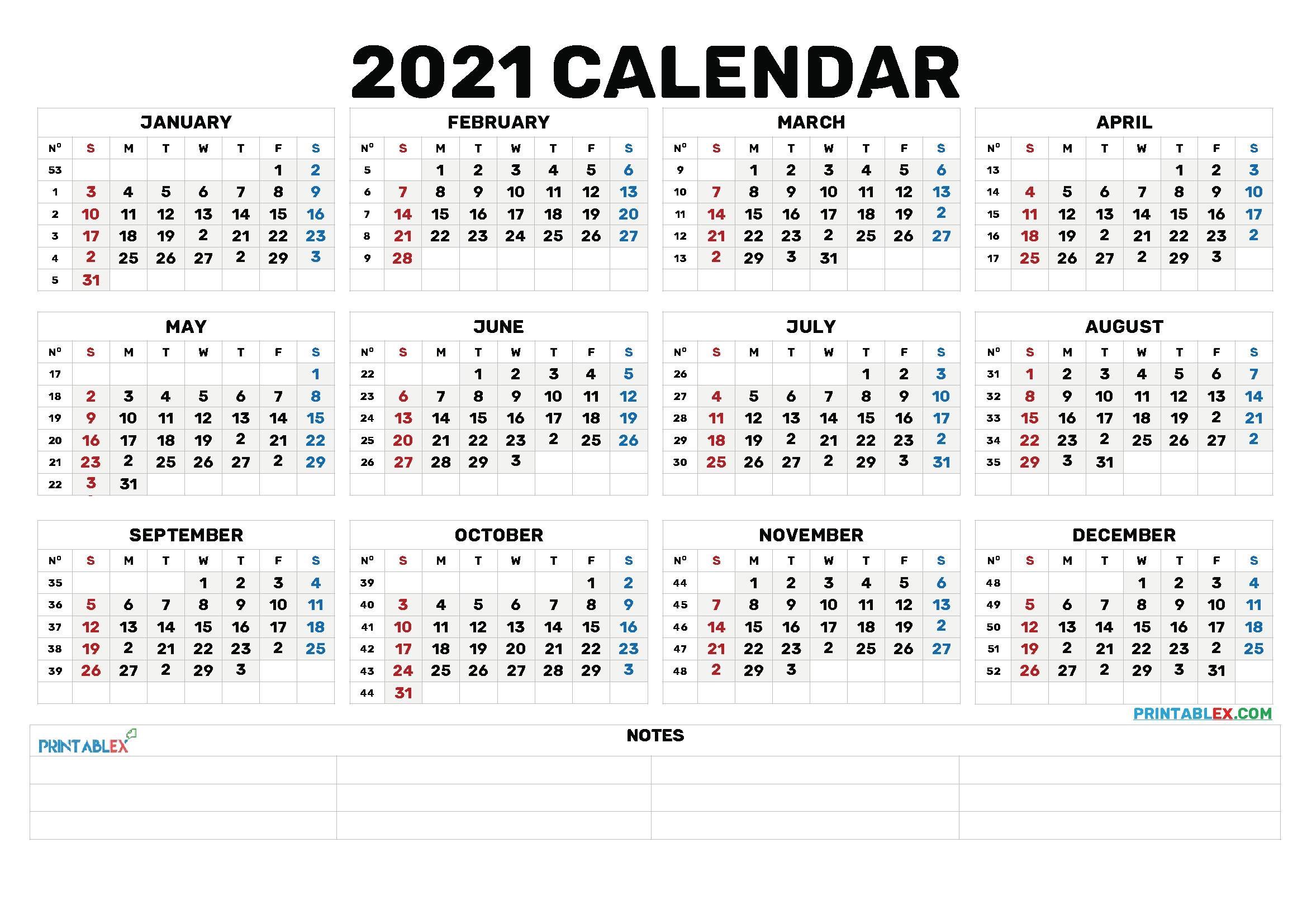 Printable 2021 Calendarmonth – 6 Templates – Free