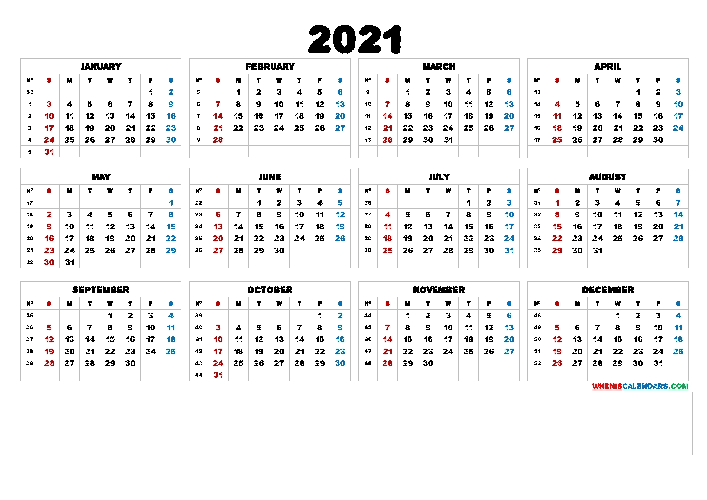 Printable 2021 Calendaryear (6 Templates) – Free 2020