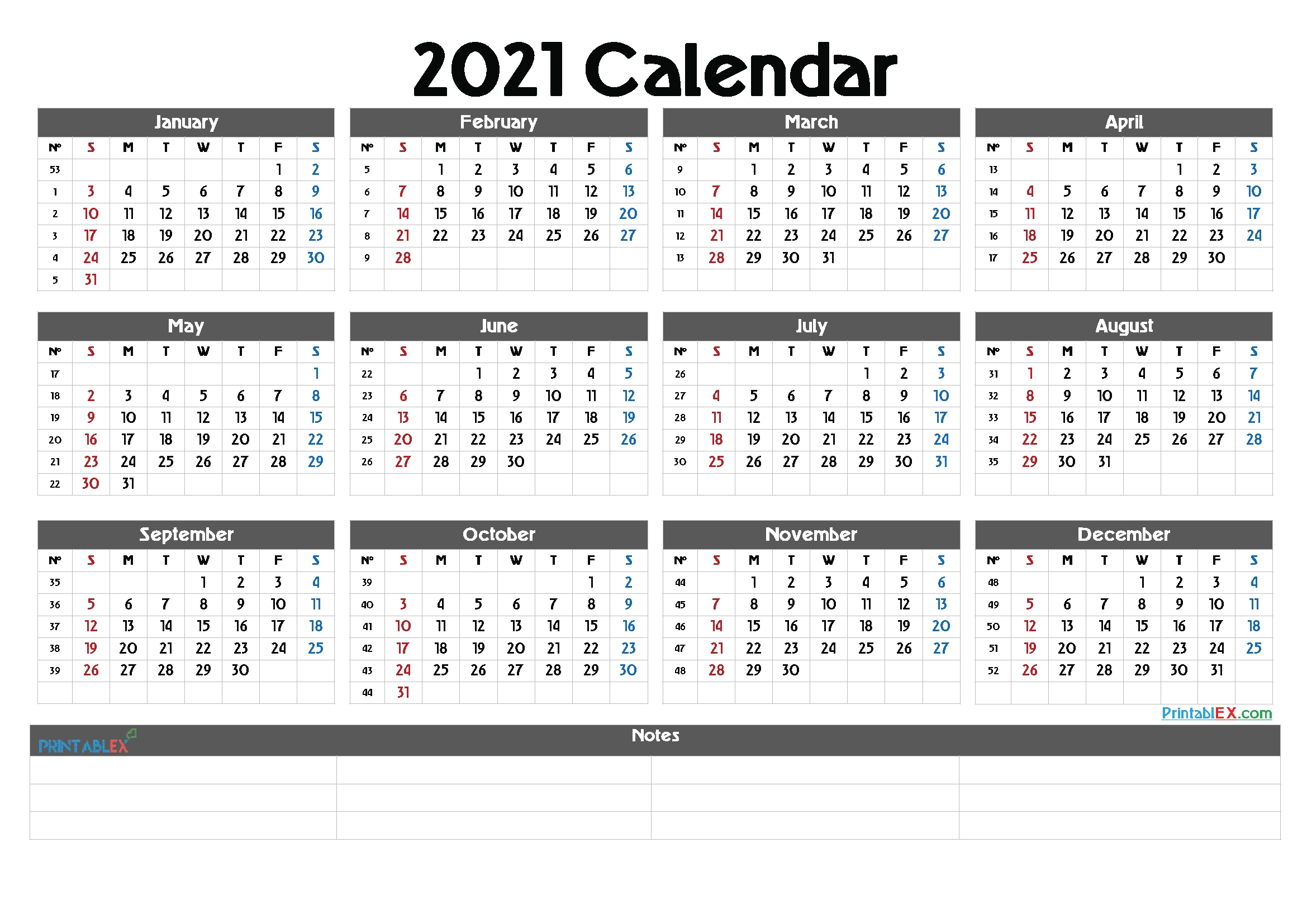 Printable 2021 Calendaryear – Free Printable 2020