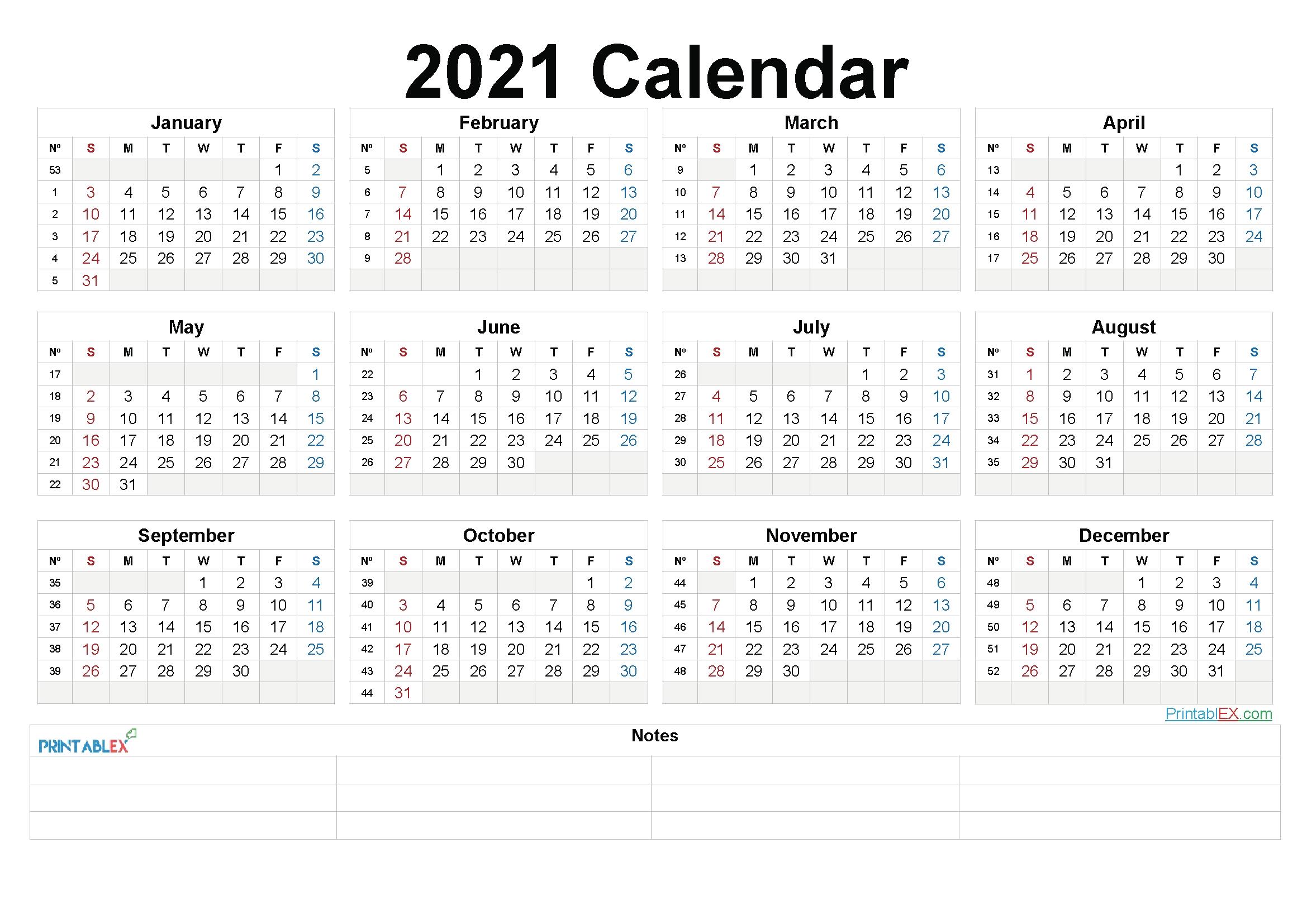 Printable 2021 Yearly Calendar With Week Numbers – 21Ytw203
