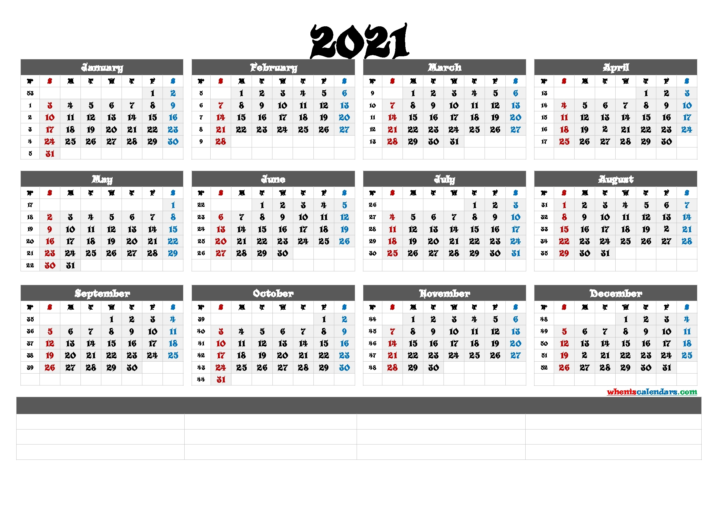 Printable 2021 Yearly Calendar With Week Numbers