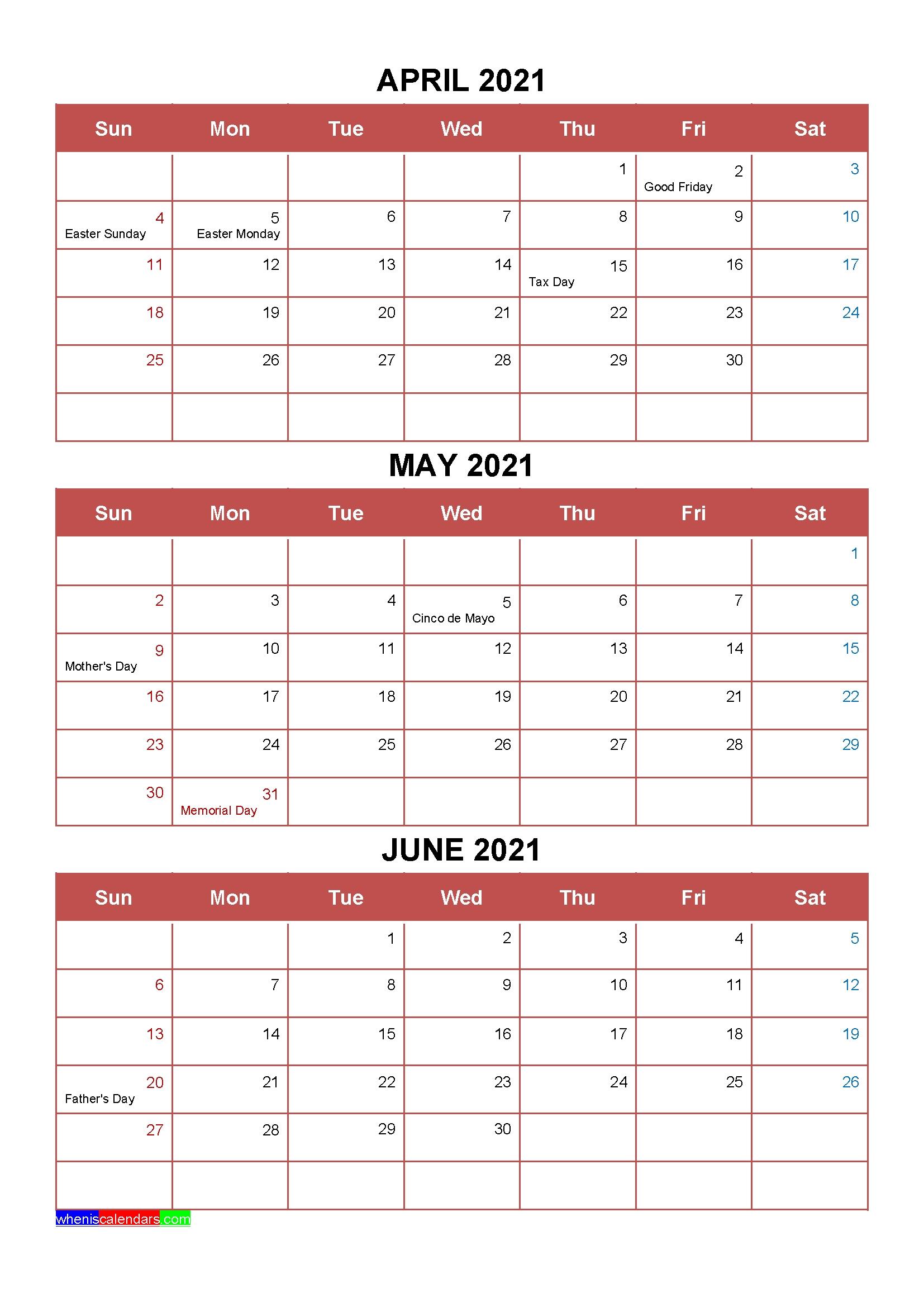 Printable April May June 2021 Calendar Template Word, Pdf