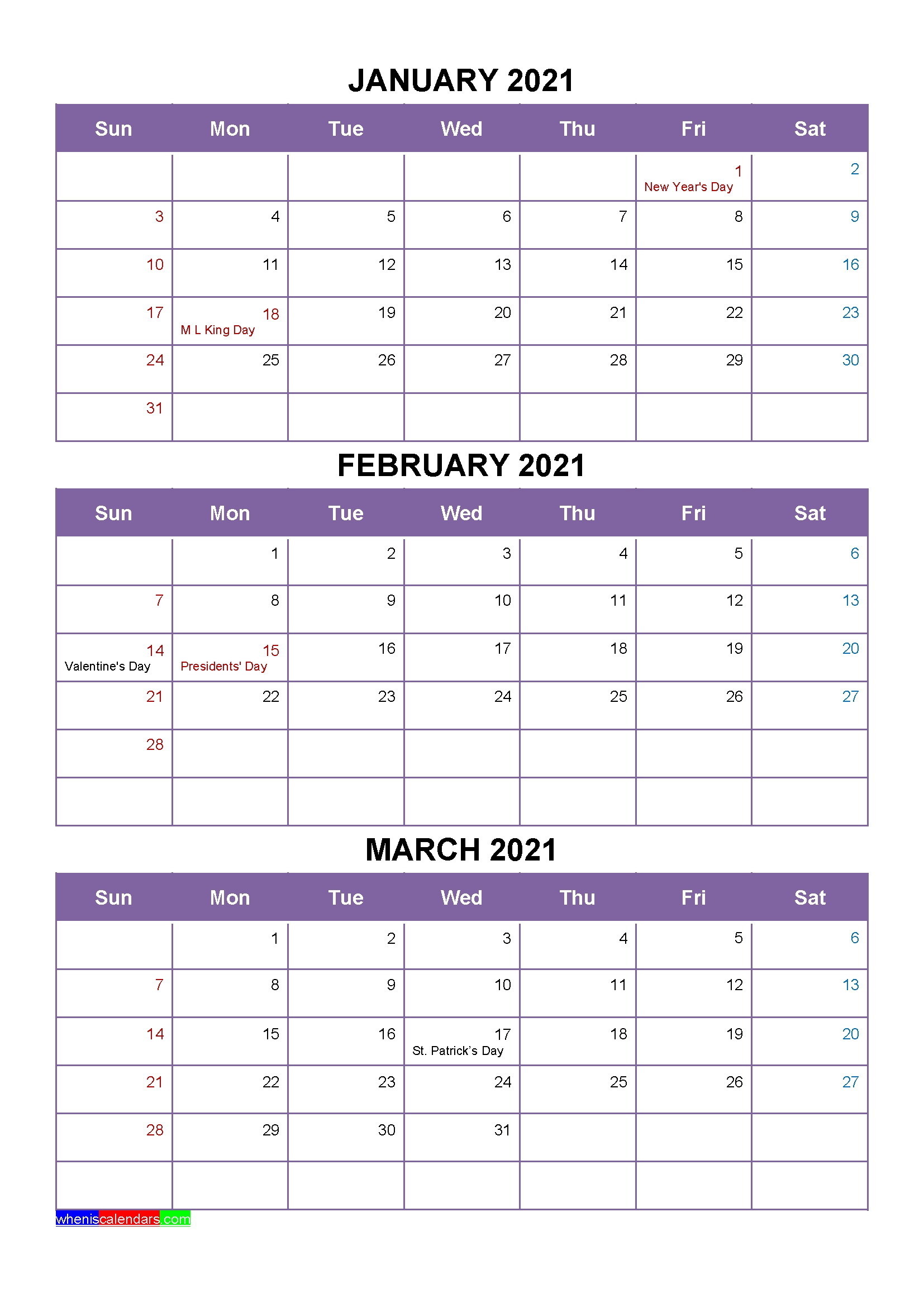 Printable April May June 2021 Calendar With Holidays [Four
