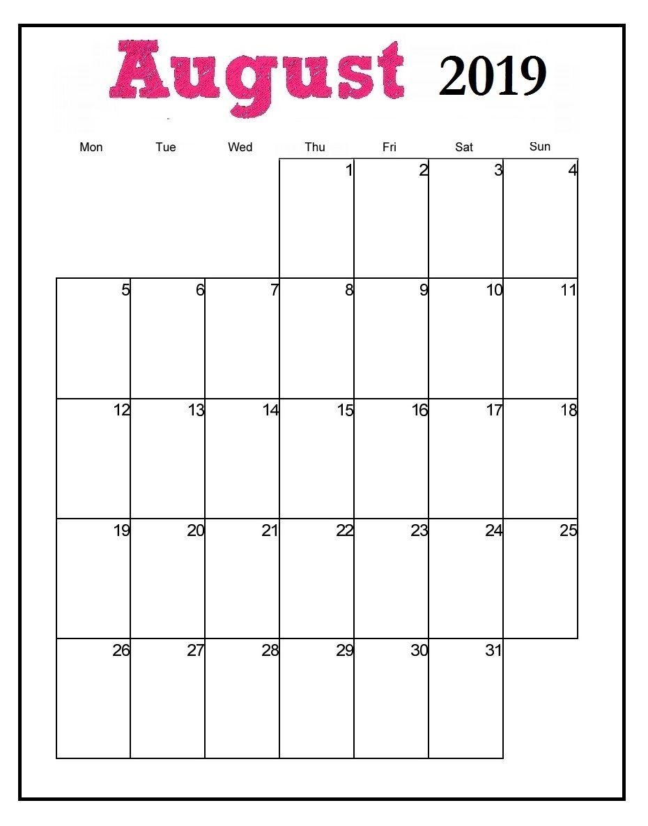 Printable August 2019 Vertical Calendar   Printable Calendar