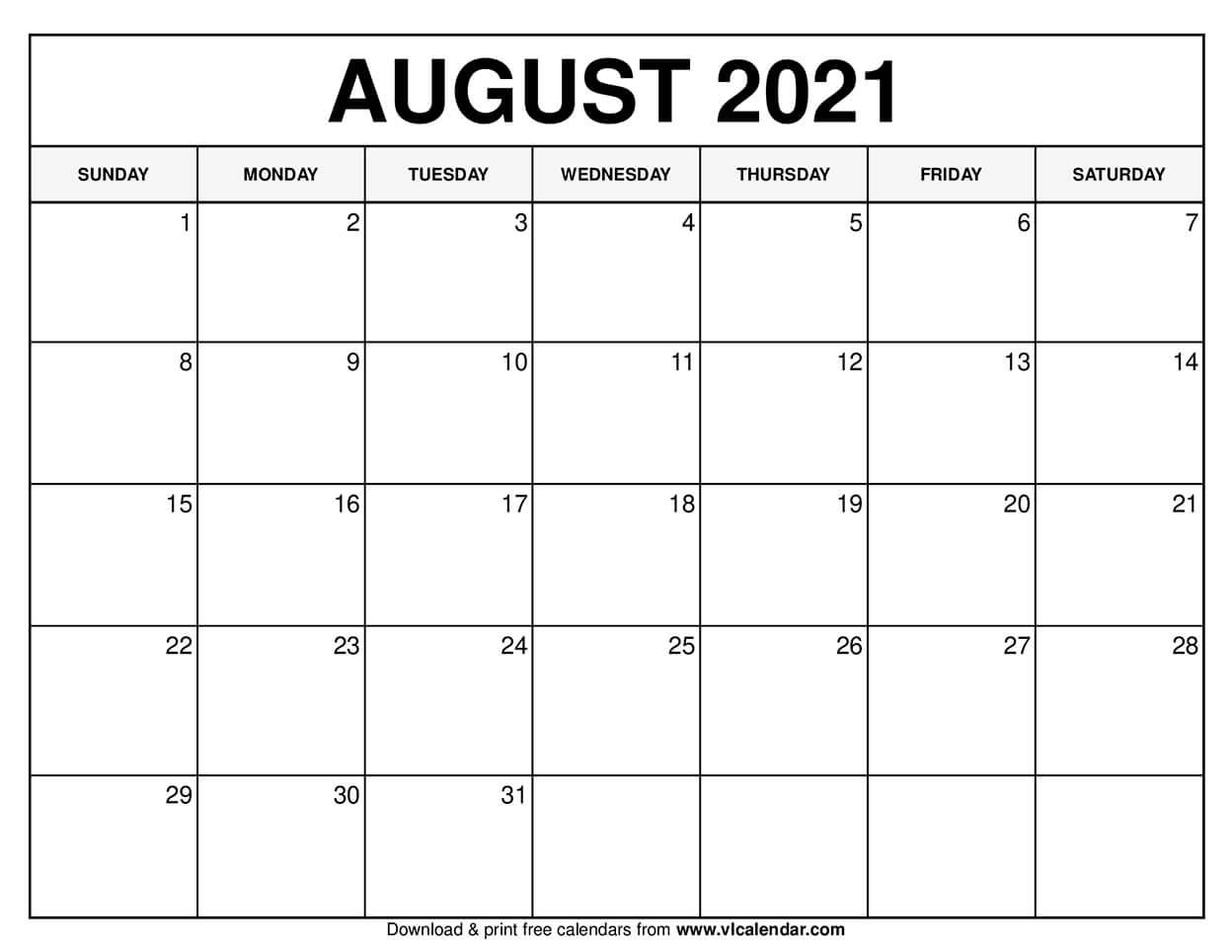 Printable August 2020 Calendars