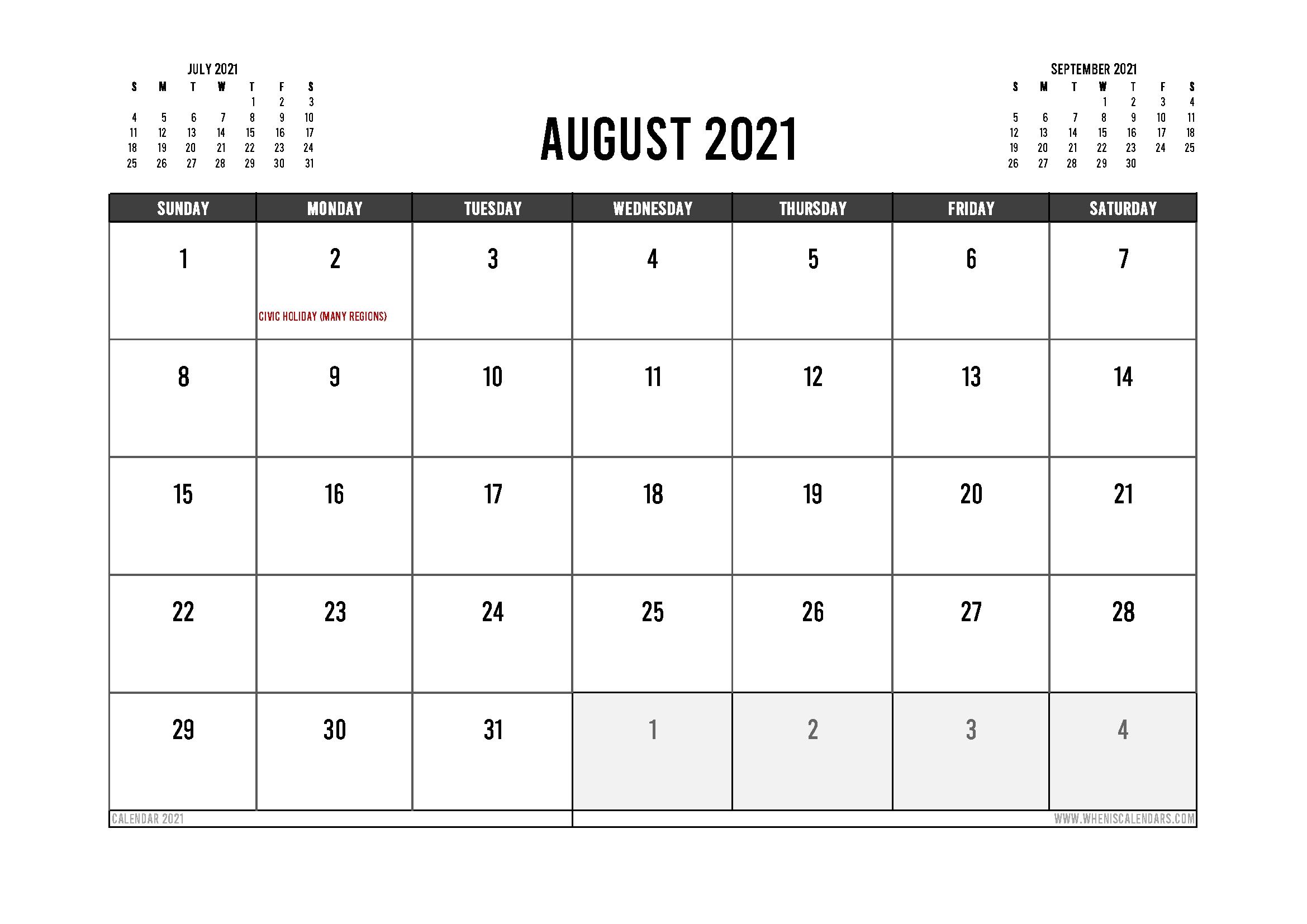 Printable August 2021 Calendar Canada 12 Templates – Free