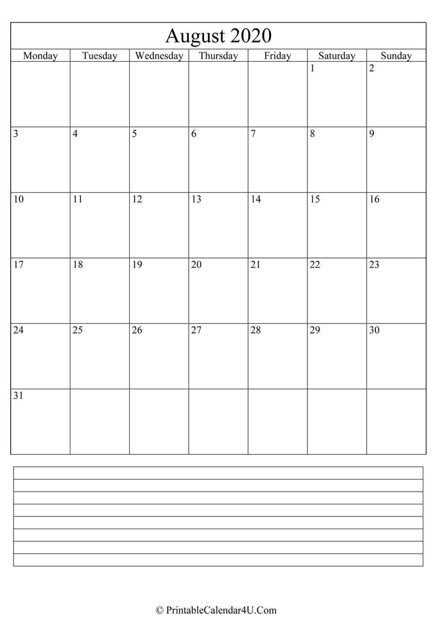 Printable August Calendar 2020 With Notes (Portrait)