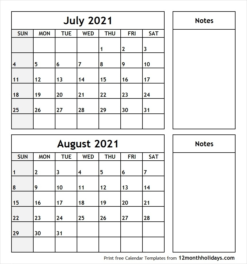 Printable Blank Two Month Calendar July August 2021 Template