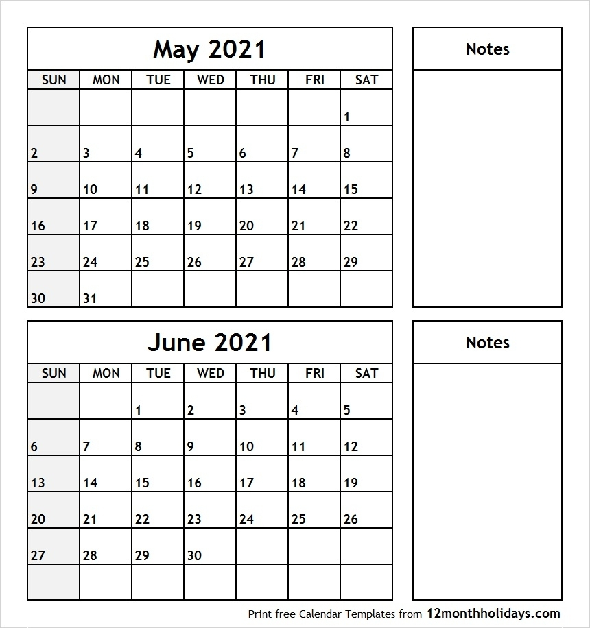 Printable Blank Two Month Calendar May June 2021 Template