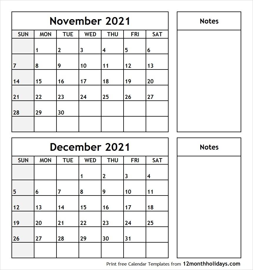 Printable Blank Two Month Calendar November December 2021