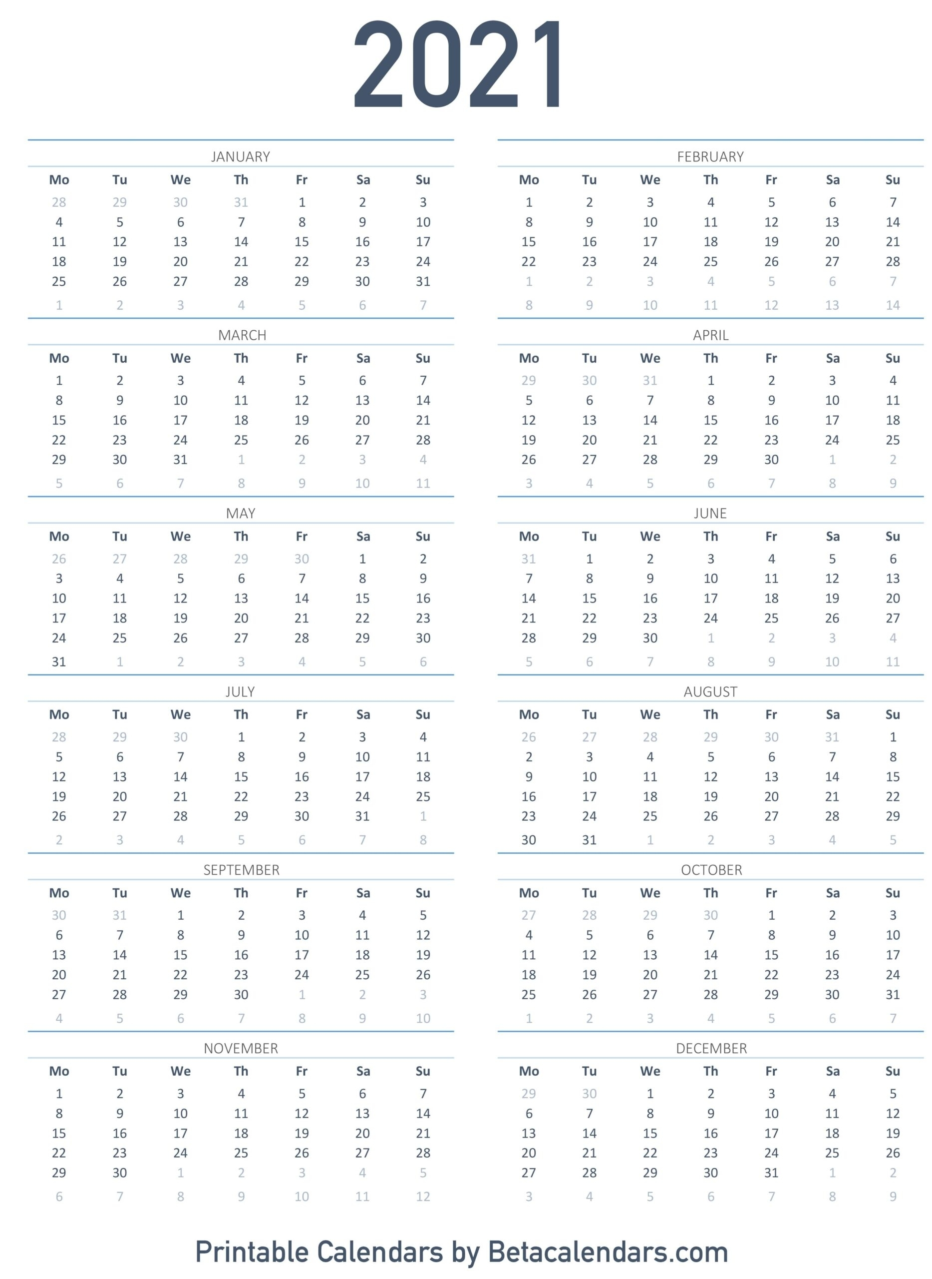 Printable Calendar 2021 | Download & Print Free Blank Calendars