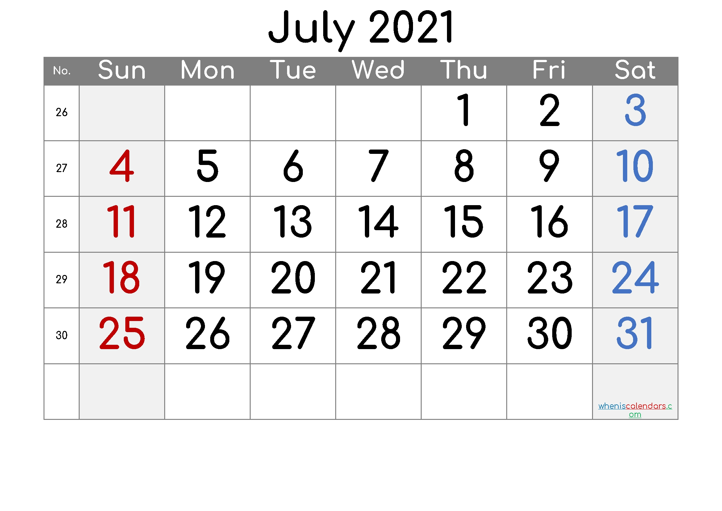 Printable Calendar 2021 July – Free Printable 2020 Monthly