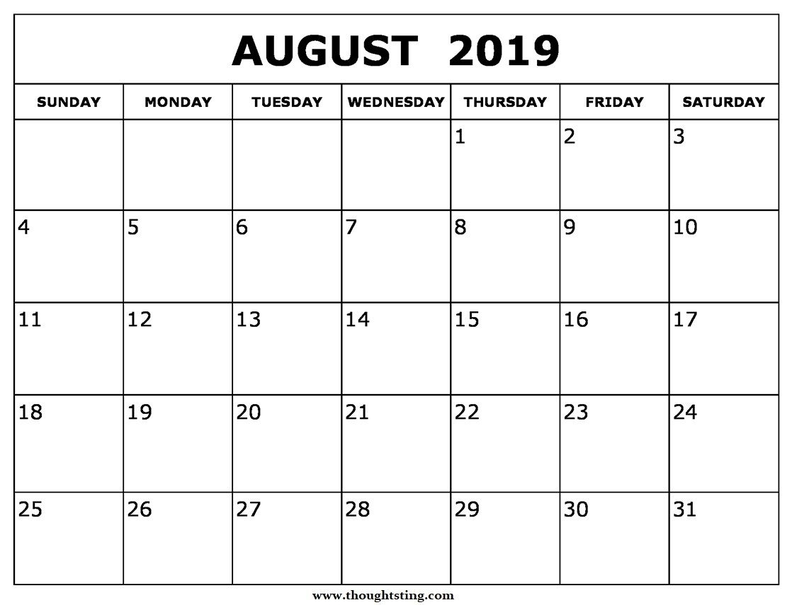 Printable Calendar For August 2019 Page | August Calendar