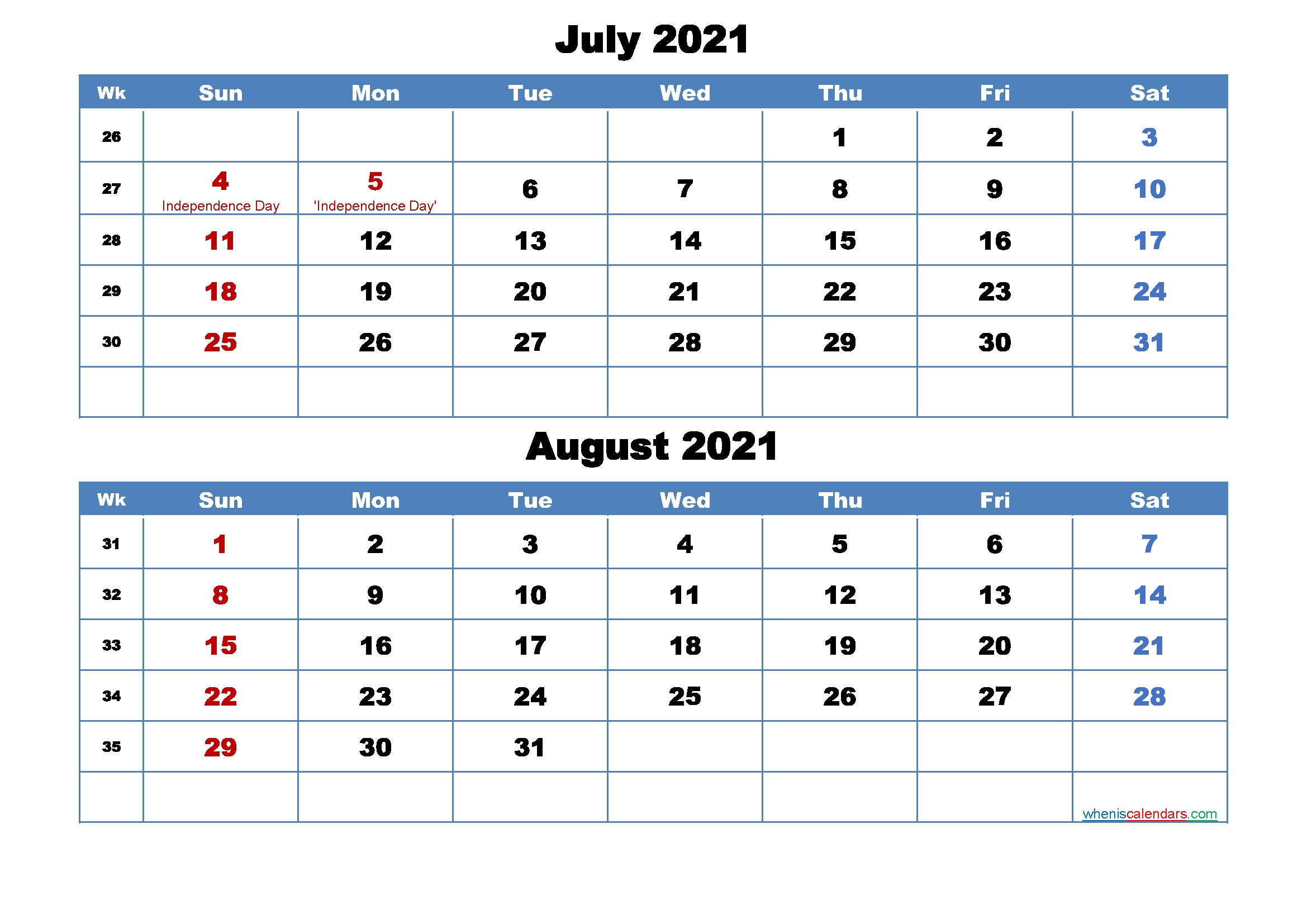 Printable Calendar July And August 2021 Word, Pdf – Free