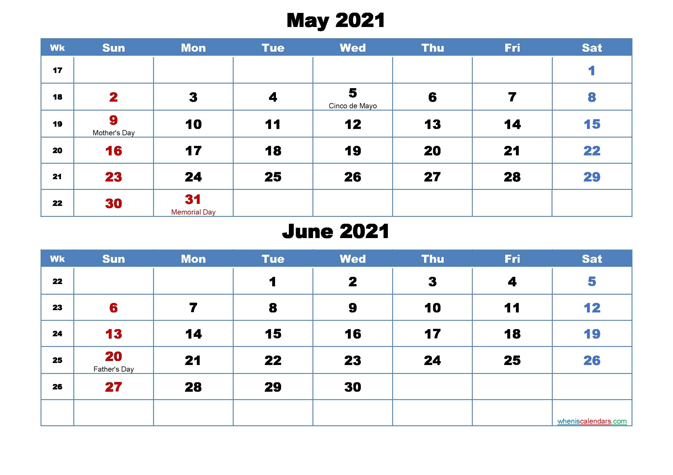 Printable Calendar May And June 2021 Word, Pdf – Free 2020