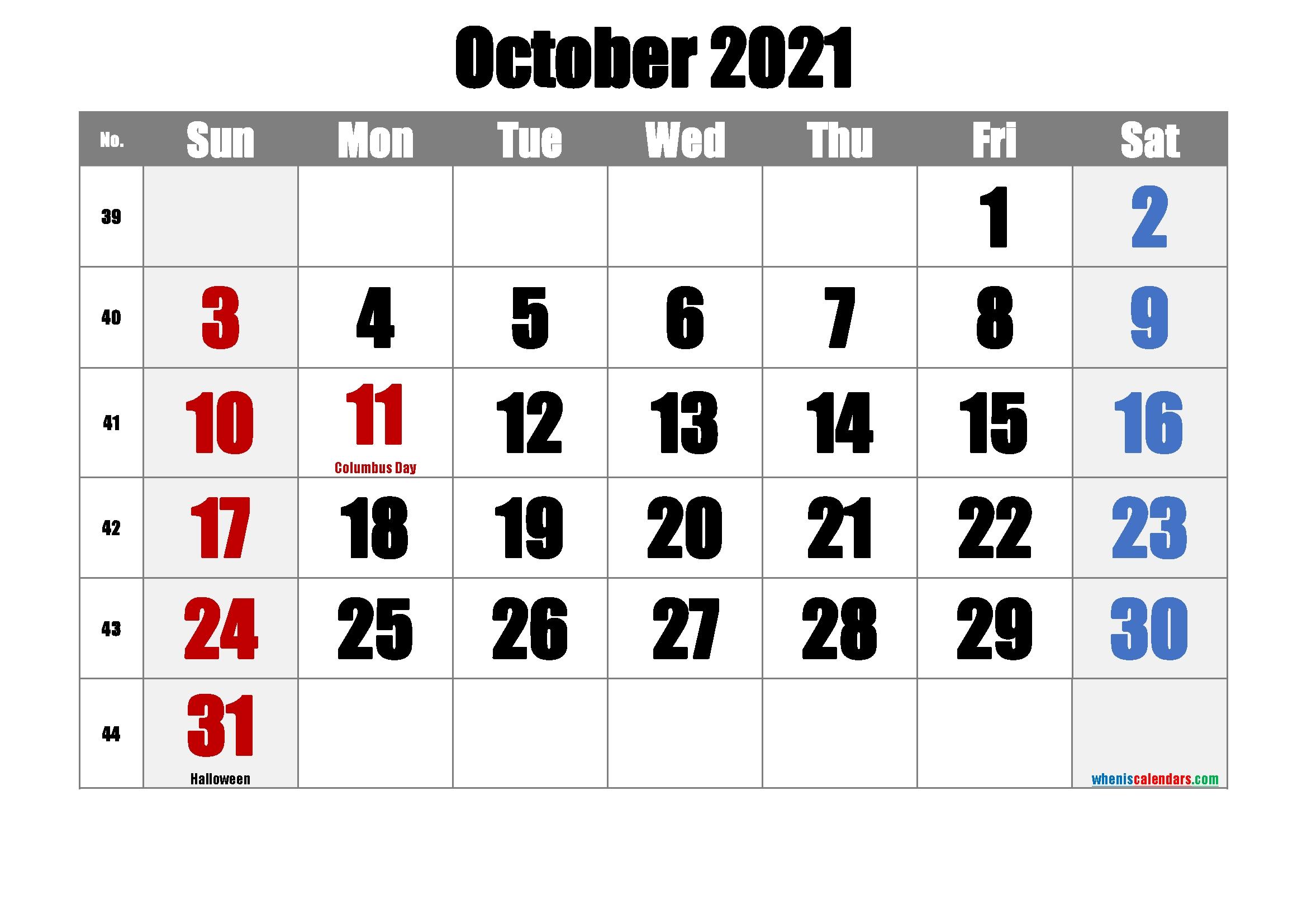 Printable Calendar October 2021-Template No.ip21M22 – Free