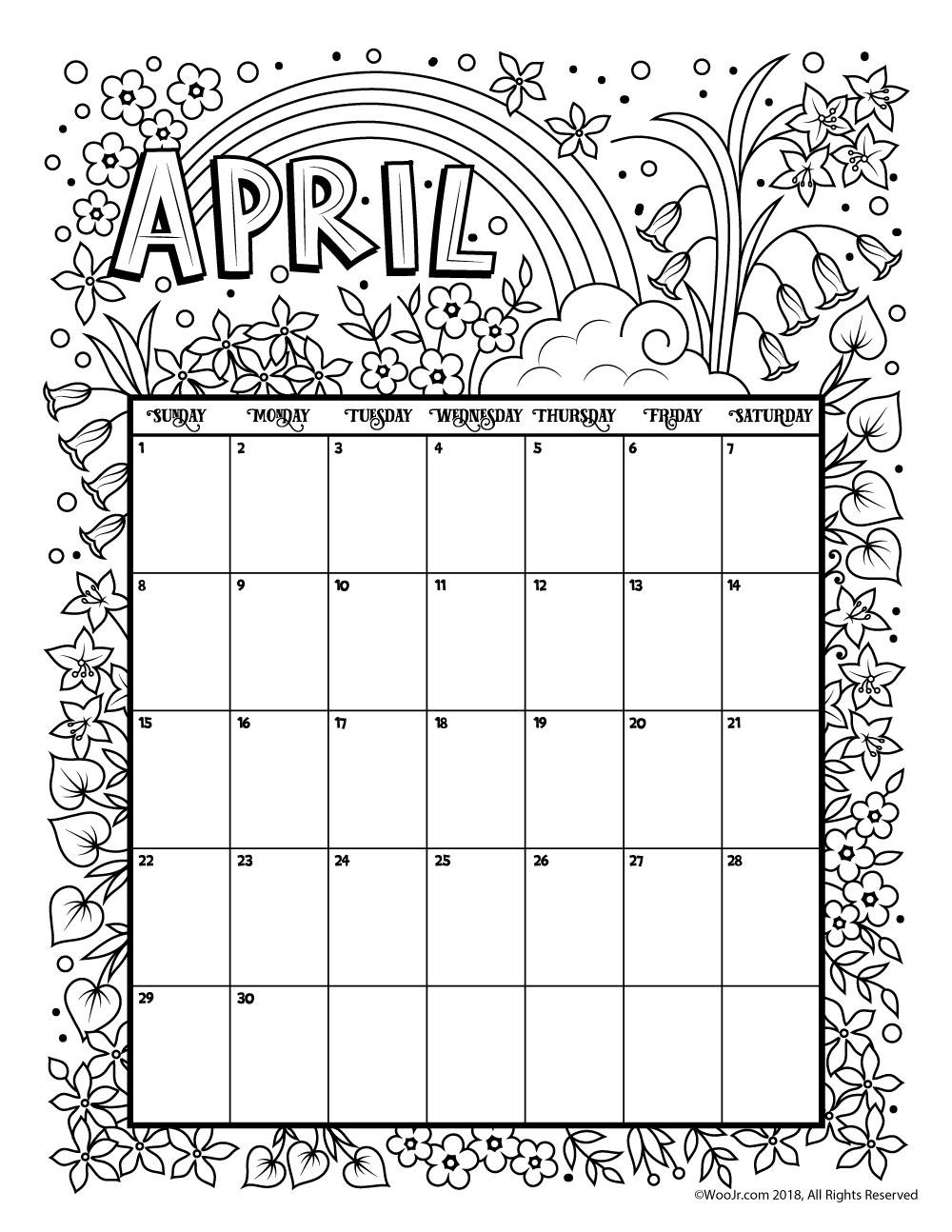 Printable Coloring Calendar For 2021 (And 2020!) | Woo! Jr