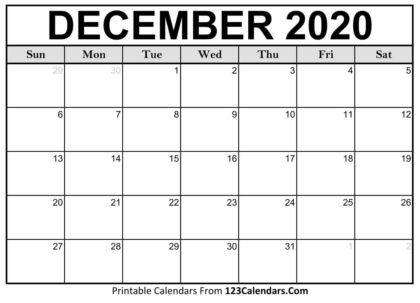 Printable December 2020 Calendar Templates | 123Calendars