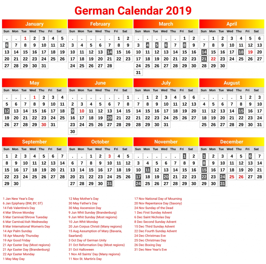 Printable Germany 2019 Calendar | 2019 Calendar, Calendar