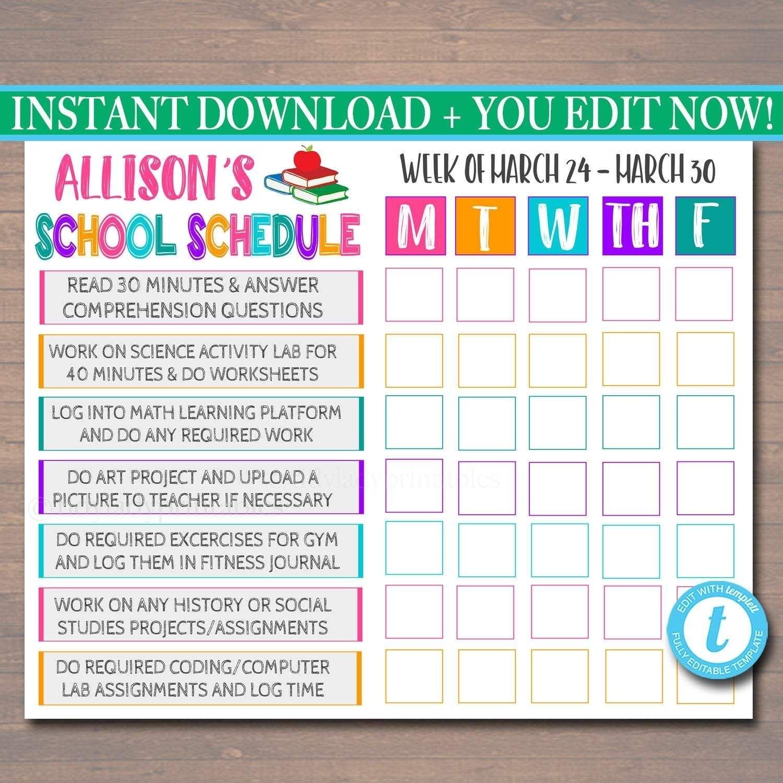 Printable Homeschool Schedule - Daily Subject Checklist