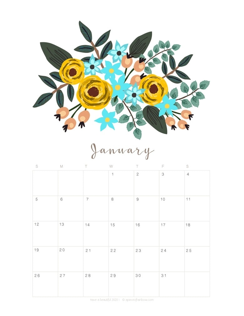 Printable January 2020 Calendar Monthly Planner {2 Designs