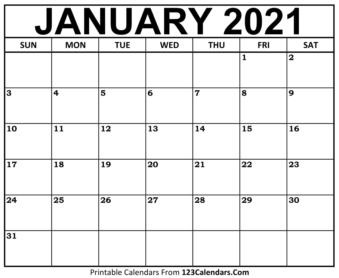 Printable January 2021 Calendar Templates   123Calendars