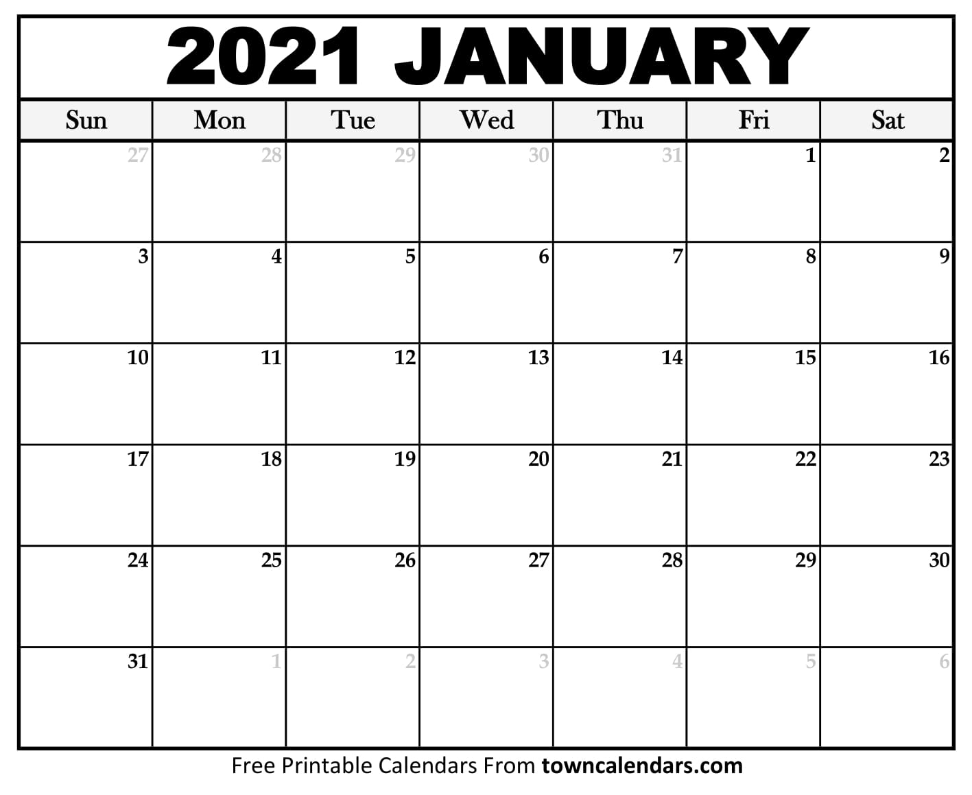 Printable January 2021 Calendar - Towncalendars