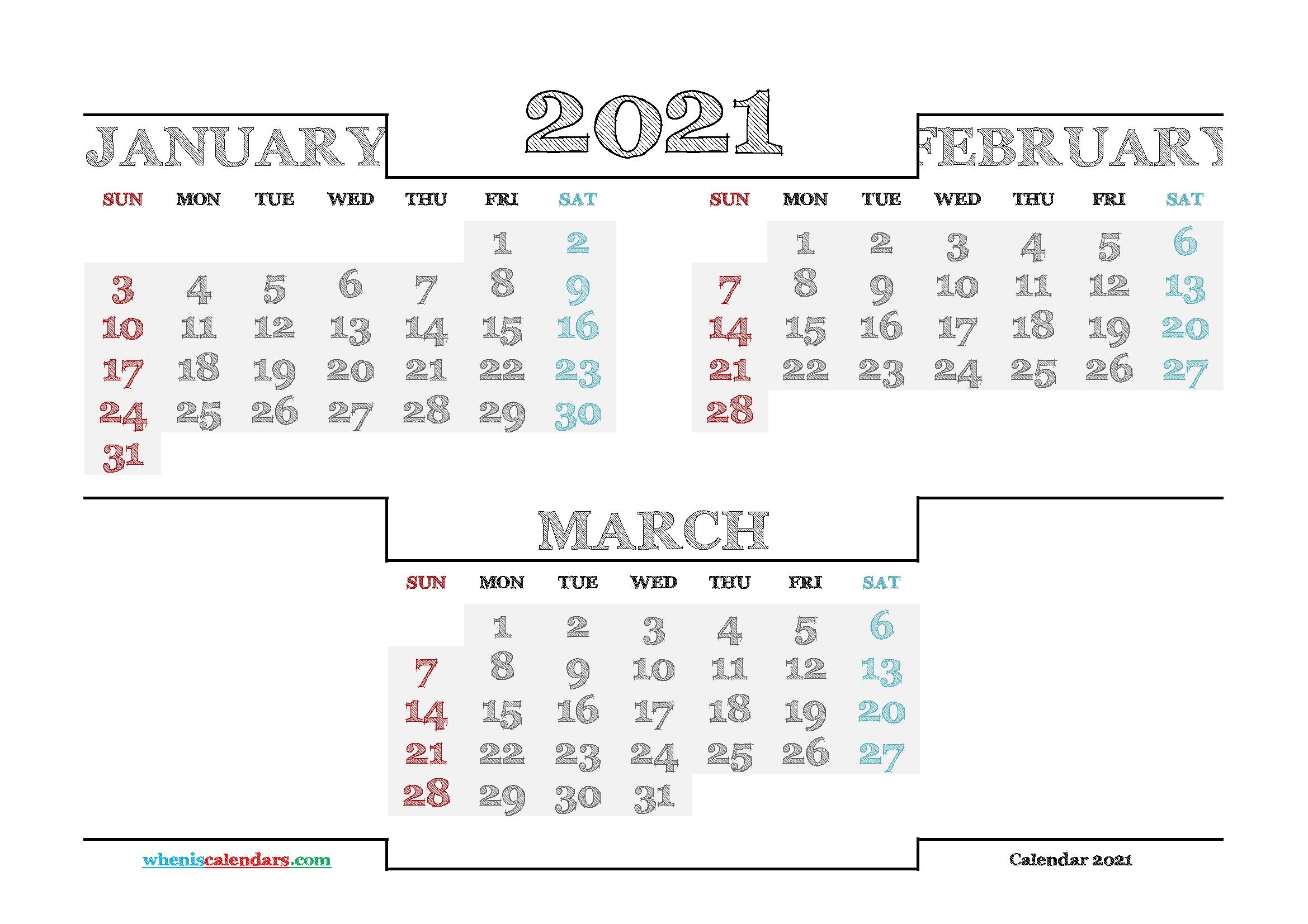 Printable January February March 2021 Calendar – Free