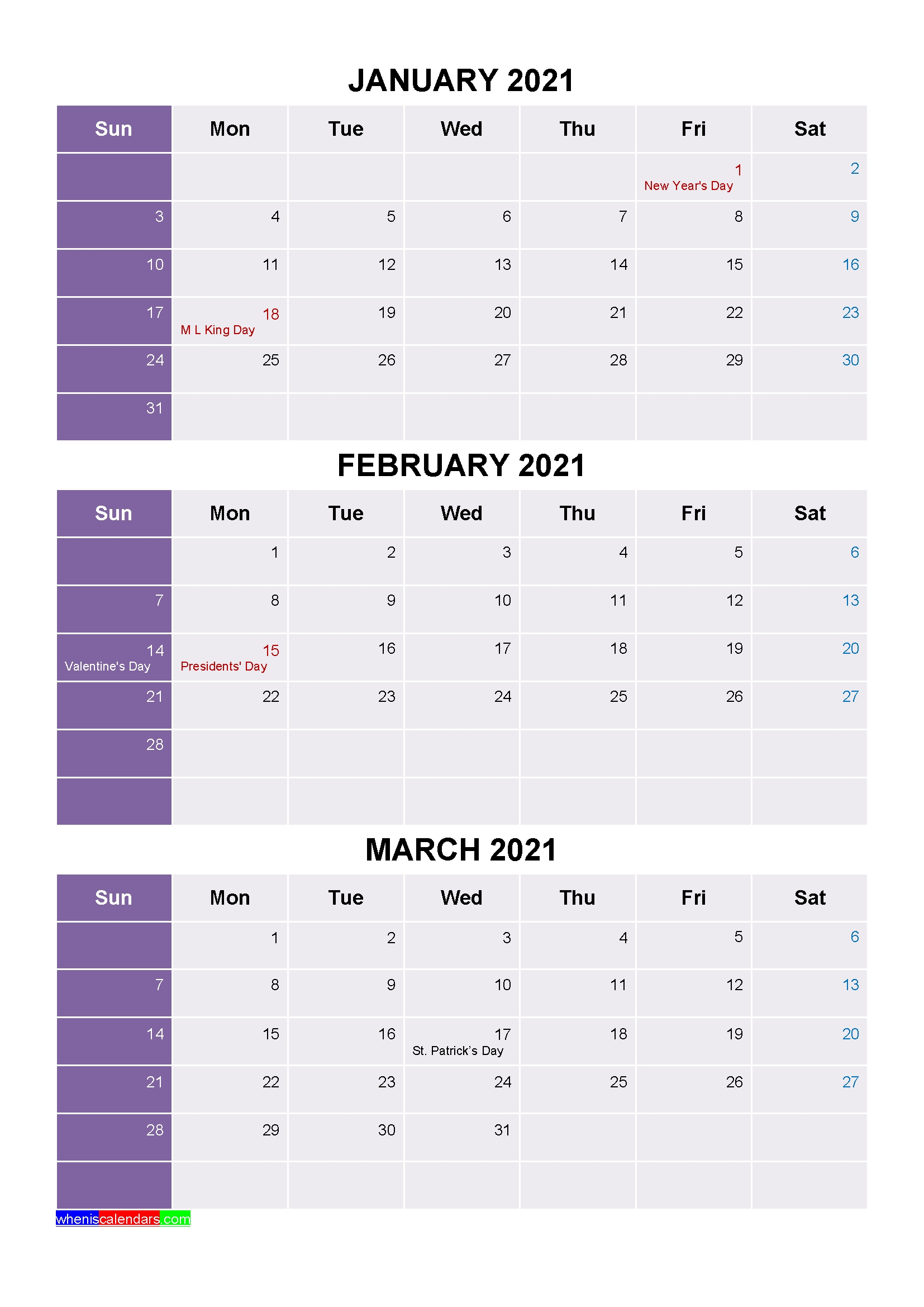 Printable January February March 2021 Calendar With Holidays