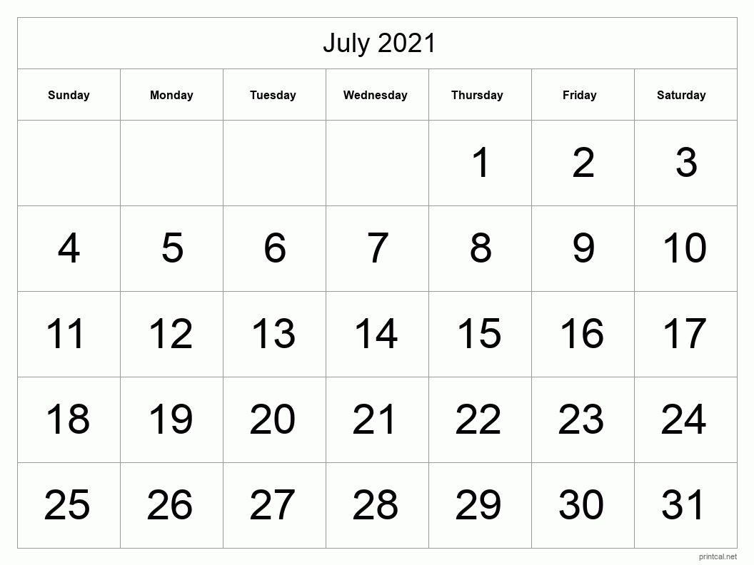 Printable July 2021 Calendar | Free Printable Calendars