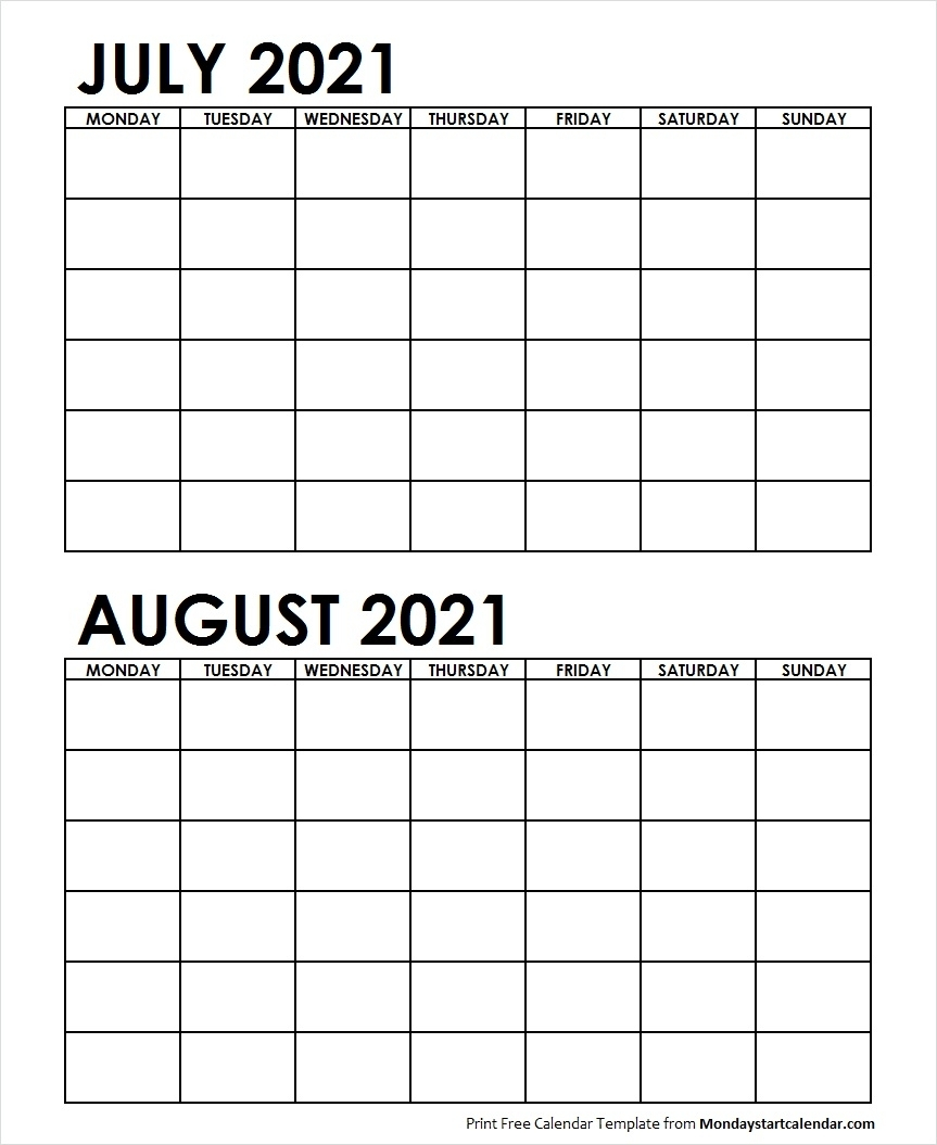 Printable July August 2021 Calendar Template Blank Archives