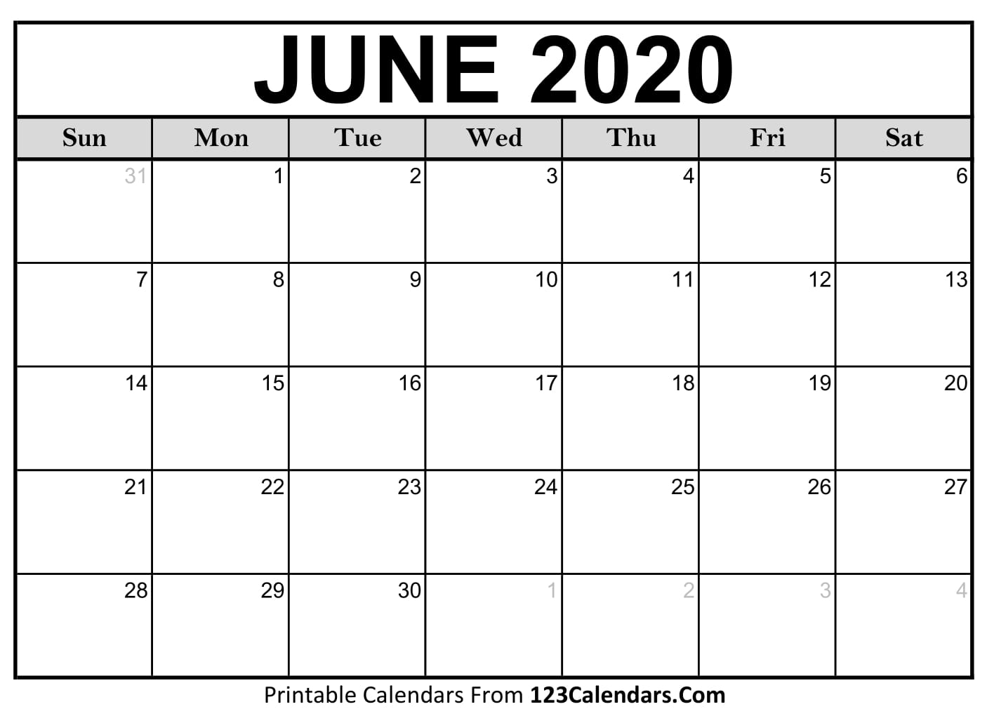 Printable June 2020 Calendar Templates | 123Calendars