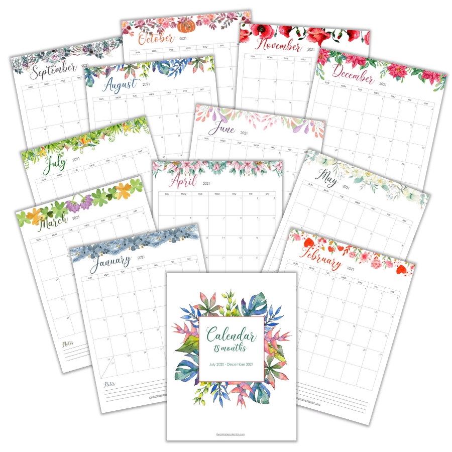 Printable Monthly Calendar 2021 With Watercolor Images {+