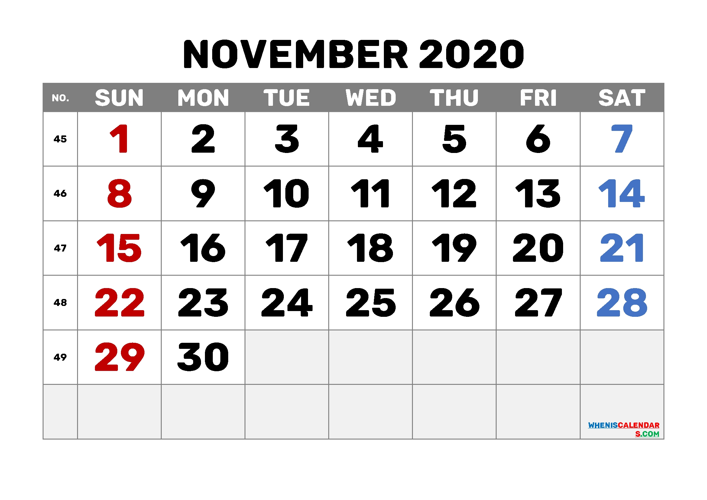 Printable November 2020 Calendar Pdf 6 Templates (Pdf And
