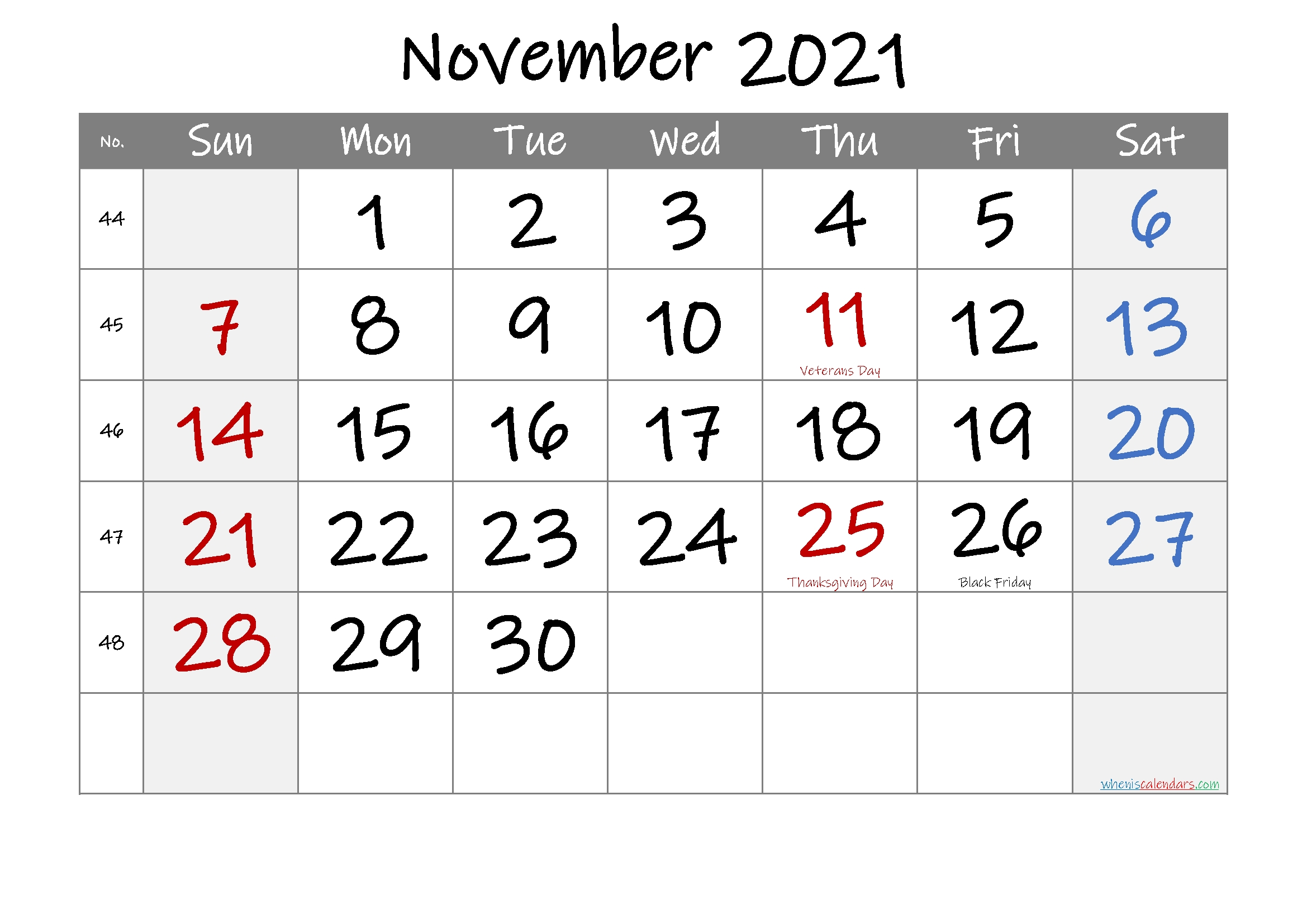 Printable November 2021 Calendar With Holidays – 6 Templates
