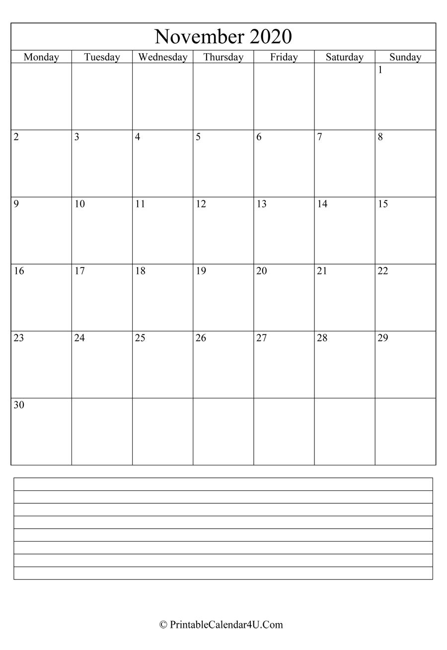 Printable November Calendar 2020 With Notes (Portrait)