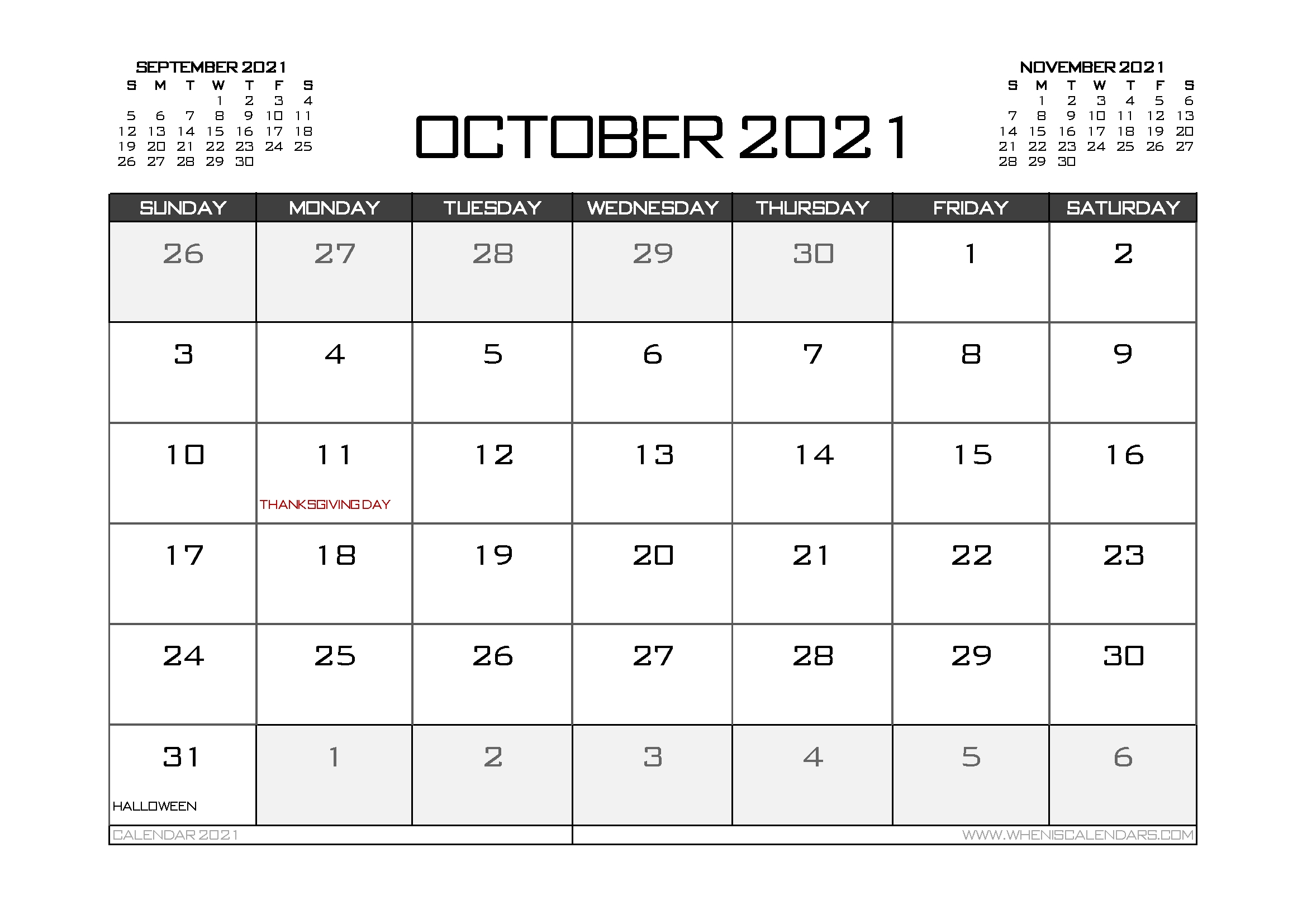 Printable October 2021 Calendar Canada 12 Templates – Free